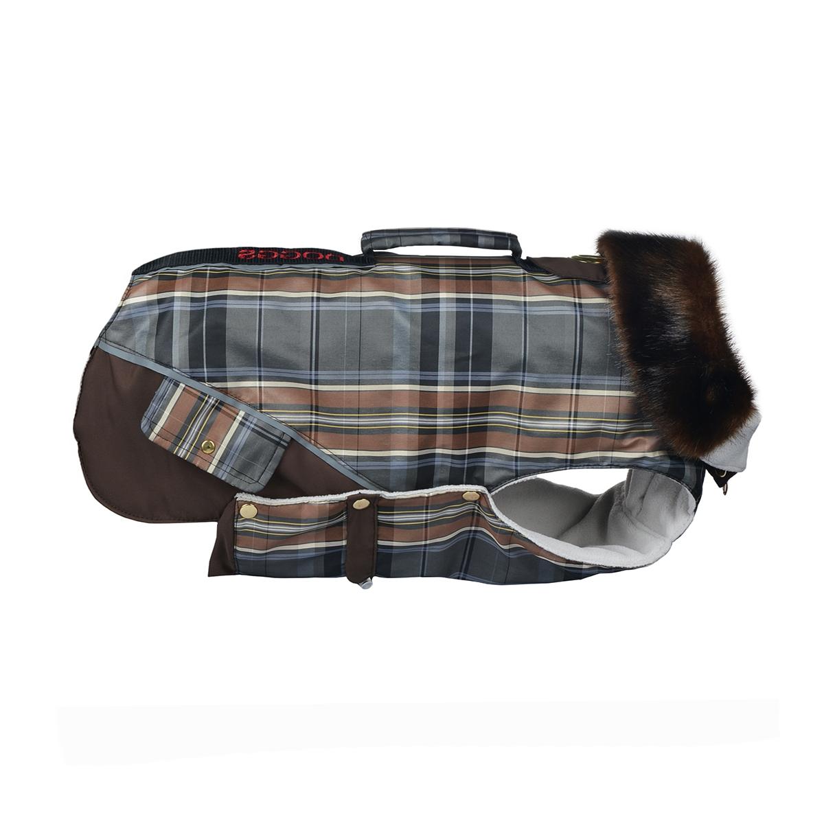 Попона для собак Dogmoda Doggs, для девочки, цвет: коричневый. Размер LDM-140549_коричневаяТеплая попона для собак Dogmoda Doggs отлично подойдет для прогулок в холодное время года. Попона изготовлена из водоотталкивающего полиэстера, защищающего от ветра и осадков. Синтепоновый утеплитель сохранит тепло даже в сильные морозы и обеспечит уют во время зимних прогулок. На подкладке используется флис, который обеспечивает воздухообмен. Попона не имеет рукавов, поэтому не ограничивает свободу движений, и собака будет чувствовать себя в ней комфортно. Стильный меховой воротник-стойка на молнии всегда будет обращать на себя восторженное внимание других владельцев собак. Модель застегивается на кнопки. На животе попона затягивается на шнурок-кулиску с зажимом. Спинка декорирована вышитой надписью Doggs, оснащена светоотражающими элементами и ручкой. Модель снабжена непромокаемым карманом для размещения записки с информацией о вашем питомце, на случай если он потеряется. Благодаря такой попоне питомцу будет тепло и...