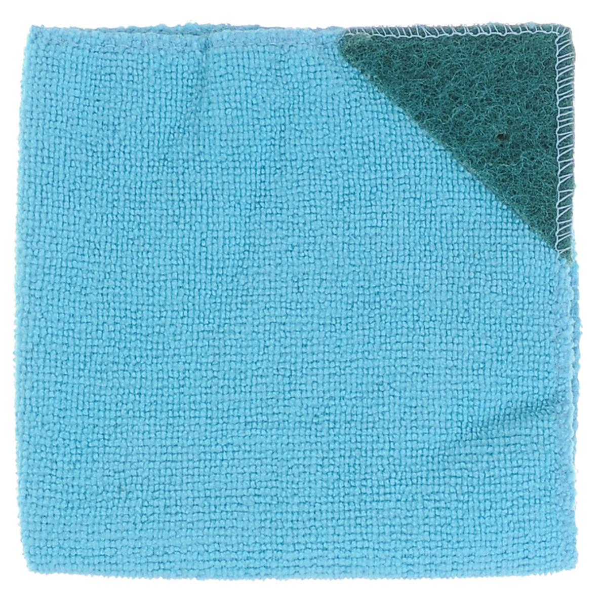 Салфетка для кухни Eva, с абразивом, цвет: голубой, 30 см х 30 см10503Салфетка Eva, выполненная из микрофибры, отлично удаляет загрязнения и впитывает влагу. Благодаря своей структуре, она не оставляет разводов, может удалять загрязнения без помощи чистящих средств и не оставляет ворса. Салфетка имеет абразивный уголок, что позволяет удалять особенно сложные загрязнения.Размер салфетки: 30 см х 30 см.