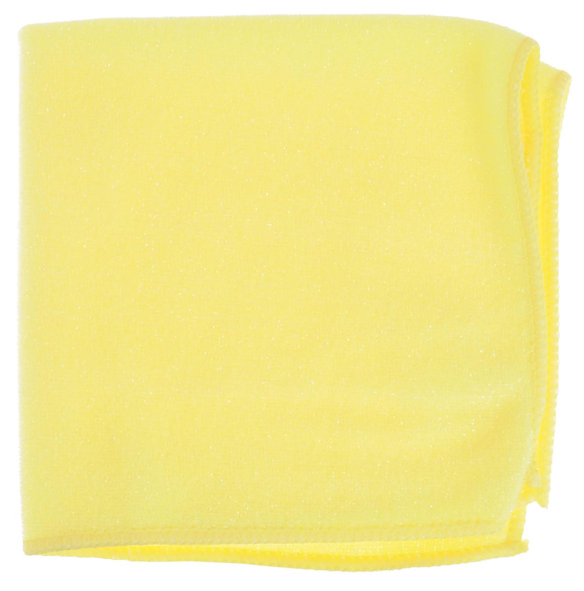 Салфетка из микрофибры York, двухсторонняя, для керамики, цвет: желтый, 30 х 30 см2617Салфетка York, выполненная из микрофибры, оснащена абразивной сеткой, которая удаляет стойкие загрязнения различного происхождения с твердых неокрашенных и нелакированных покрытий, гладкая сторона эффективно очищает и полирует их. Салфетка из микрофибры эффективна для удаления засохших или пригоревших жировых пятен с плиты, керамической плитки и других поверхностей. Устраняет известковые подтеки и недавно появившиеся известковые отложения с сантехники, кранов, плитки, металлических, керамических, стеклянных и пластиковых поверхностей. Салфетка может использоваться для сухой и влажной уборки, в том числе с моющими средствами. Не оставляет разводов и ворсинок. Размер салфетки: 30 см х 30 см.