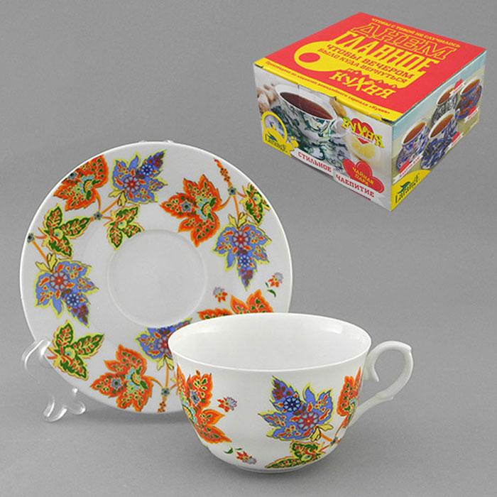 Набор чайный LarangE Восточный микс, 2 предмета586-334Чайный набор LarangE Восточный микс состоит из чашки и блюдца, украшенных ярким рисунком в восточном стиле. Изделия выполнены из высококачественного фарфора, покрытого сверкающей глазурью. Такой набор станет украшением стола к чаепитию и порадует вас стильным дизайном и качеством исполнения. Хороший подарок к любому случаю. Допускается использование в микроволновой печи и холодильнике. Объем чашки: 225 мл. Диаметр чашки (по верхнему краю): 9,5 см. Высота чашки: 6 см. Диаметр блюдца: 15 см.