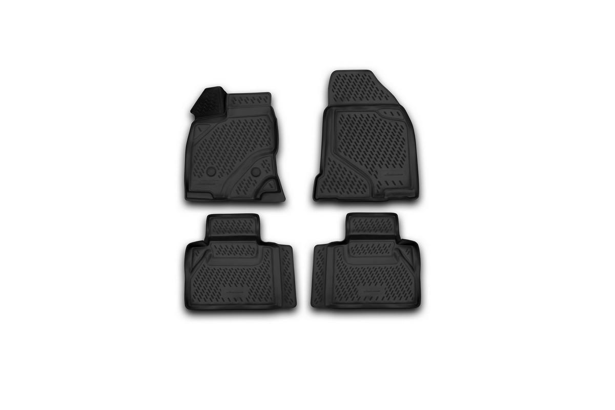 Набор автомобильных 3D-ковриков Novline-Autofamily для Ford Edge, 2013->, в салон, 4 штCARFRD00023kНабор Novline-Autofamily состоит из 4 ковриков, изготовленных из полиуретана. Основная функция ковров - защита салона автомобиля от загрязнения и влаги. Это достигается за счет высоких бортов, перемычки на тоннель заднего ряда сидений, элементов формы и текстуры, свойств материала, а также запатентованной технологией 3D-перемычки в зоне отдыха ноги водителя, что обеспечивает дополнительную защиту, сохраняя салон автомобиля в первозданном виде. Материал, из которого сделаны коврики, обладает антискользящими свойствами. Для фиксации ковров в салоне автомобиля в комплекте с ними используются специальные крепежи. Форма передней части водительского ковра, уходящая под педаль акселератора, исключает нештатное заедание педалей. Набор подходит для Ford Edge с 2013 года выпуска.