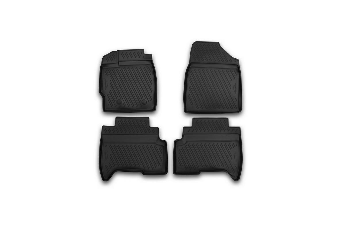 Набор автомобильных 3D-ковриков Novline-Autofamily для Lifan X50, 2015->, кроссовер, в салон, 4 штCARLIF00005Набор Novline-Autofamily состоит из 4 ковриков, изготовленных из полиуретана. Основная функция ковров - защита салона автомобиля от загрязнения и влаги. Это достигается за счет высоких бортов, перемычки на тоннель заднего ряда сидений, элементов формы и текстуры, свойств материала, а также запатентованной технологией 3D-перемычки в зоне отдыха ноги водителя, что обеспечивает дополнительную защиту, сохраняя салон автомобиля в первозданном виде. Материал, из которого сделаны коврики, обладает антискользящими свойствами. Для фиксации ковров в салоне автомобиля в комплекте с ними используются специальные крепежи. Форма передней части водительского ковра, уходящая под педаль акселератора, исключает нештатное заедание педалей. Набор подходит для Lifan X50 кроссовер с 2015 года выпуска.