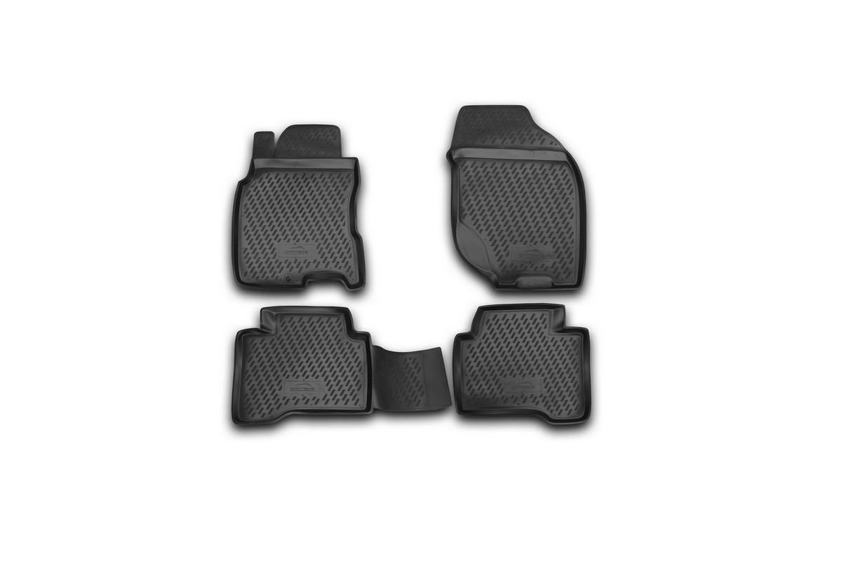 Набор автомобильных ковриков Novline-Autofamily для Nissan X-Trail 2001-2007, в салон, 4 шт. CARNIS00033CARNIS00033Набор автомобильных ковриков Novline-Autofamily, изготовленный из полиуретана, состоит из 4 ковриков, которые учитывают все особенности каждой модели автомобиля и полностью повторяют контуры пола. Полиуретановые автомобильные коврики для салона произведены из высококачественного материала, который держит форму, прочный и не пачкает обувь. Коврики в салон не только улучшат внешний вид салона вашего автомобиля, но и надежно уберегут его от пыли, грязи и сырости, а значит, защитят кузов от коррозии. Полиуретановые коврики для автомобиля гладкие, приятные и не пропускают влагу. Ковры для автомобилей надежно крепятся на полу и не скользят, что очень важно во время движения. Чистятся коврики очень просто: как при помощи автомобильного пылесоса, так и различными моющими средствами. Набор подходит для Nissan X-Trail 2001-2007 годов выпуска.