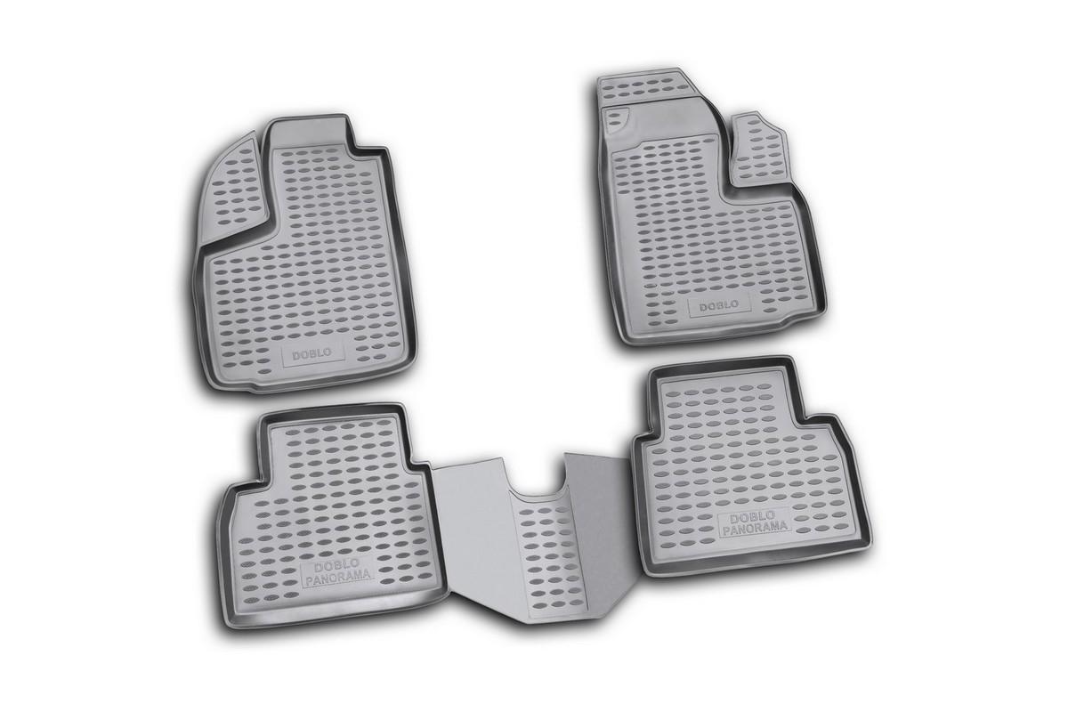 Набор автомобильных ковриков Novline-Autofamily для Fiat Doblo Panorama 2001-, в салон, 4 штDFS-524Набор автомобильных ковриков Novline-Autofamily, изготовленный из полиуретана, состоит из 4 ковриков, которые учитывают все особенности каждой модели автомобиля и полностью повторяют контуры пола. Полиуретановые автомобильные коврики для салона произведены из высококачественного материала, который держит форму, прочный и не пачкает обувь. Коврики в салон не только улучшат внешний вид салона вашего автомобиля, но и надежно уберегут его от пыли, грязи и сырости, а значит, защитят кузов от коррозии. Полиуретановые коврики для автомобиля гладкие, приятные и не пропускают влагу. Ковры для автомобилей надежно крепятся на полу и не скользят, что очень важно во время движения. Чистятся коврики очень просто: как при помощи автомобильного пылесоса, так и различными моющими средствами. Набор подходит для Fiat Doblo Panorama c 2001 года выпуска.