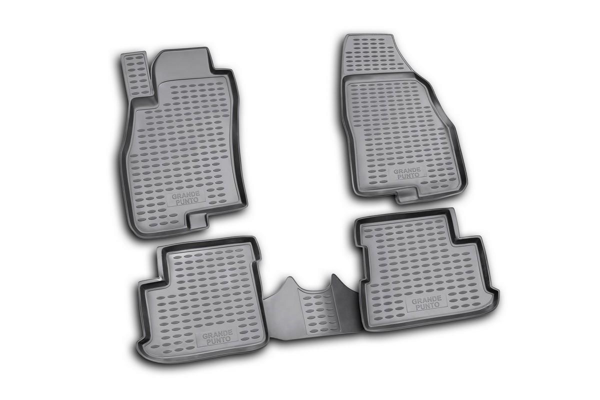 Набор автомобильных ковриков Novline-Autofamily для Fiat Grande Punto 5D 2005-, в салон, 4 штVT-1520(SR)Набор автомобильных ковриков Novline-Autofamily, изготовленный из полиуретана, состоит из 4 ковриков, которые учитывают все особенности каждой модели автомобиля и полностью повторяют контуры пола. Полиуретановые автомобильные коврики для салона произведены из высококачественного материала, который держит форму, прочный и не пачкает обувь. Коврики в салон не только улучшат внешний вид салона вашего автомобиля, но и надежно уберегут его от пыли, грязи и сырости, а значит, защитят кузов от коррозии. Полиуретановые коврики для автомобиля гладкие, приятные и не пропускают влагу. Ковры для автомобилей надежно крепятся на полу и не скользят, что очень важно во время движения. Чистятся коврики очень просто: как при помощи автомобильного пылесоса, так и различными моющими средствами. Набор подходит для Fiat Grande Punto 5D с 2005 года выпуска.