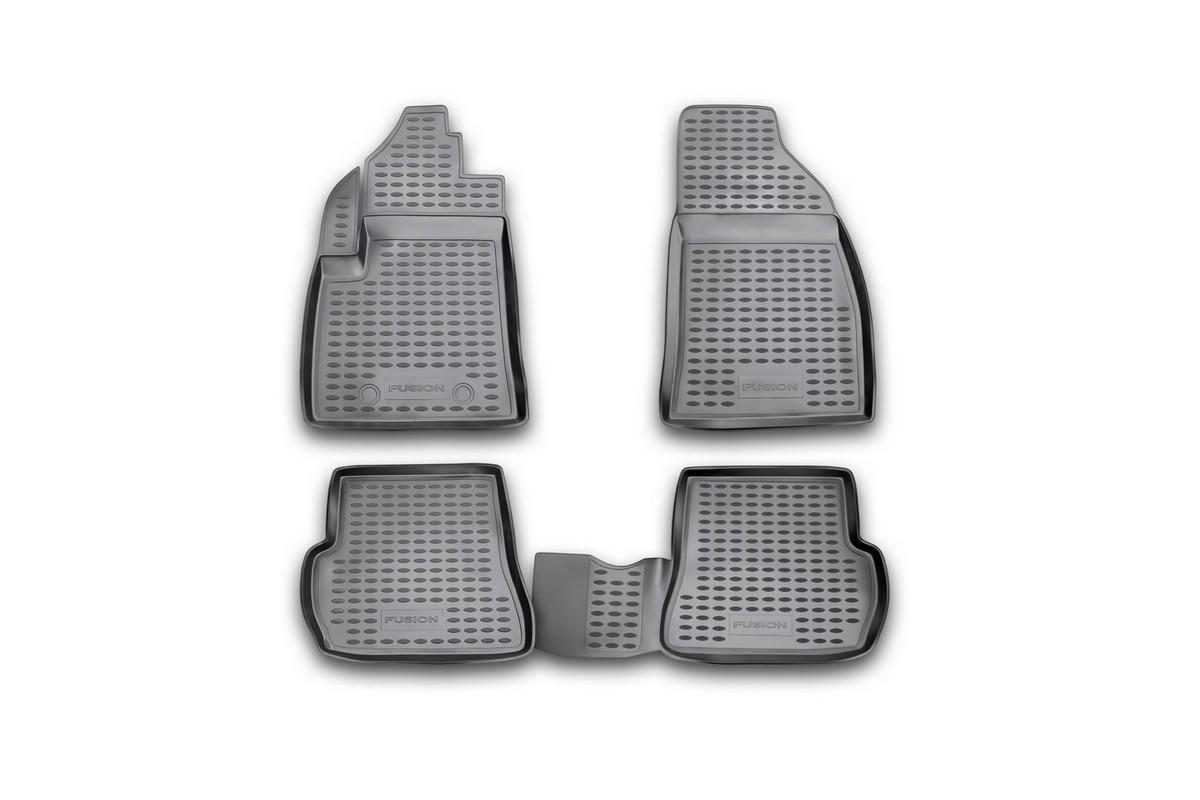 Коврики в салон автомобиля Novline-Autofamily для Ford Fusion 09/2002 -, Fiesta 2002 - 2008, 4 штNLC.16.06.210Коврики Novline-Autofamily улучшат внешний вид салона автомобиля и надежно уберегут его от пыли, грязи и сырости, а значит, защитят кузов от коррозии. Полиуретановые коврики гладкие, приятные и не пропускает влагу. Полиуретановые автомобильные коврики произведены из высококачественного материала, который держит форму и не пачкает обувь. Коврики надежно крепятся на полу и не скользят, что очень важно во время движения, особенно для водителя. Изделия из полиуретана надежно удерживают грязь и влагу, при этом всегда выглядят довольно опрятно. И чистятся они очень просто: как при помощи автомобильного пылесоса, так и различными моющими средствами.