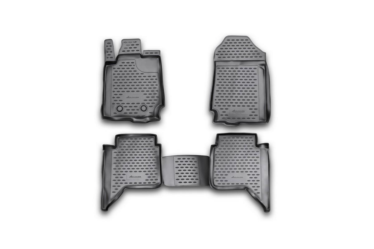 Набор автомобильных ковриков Novline-Autofamily для Ford Ranger, 4 doors 2011-, в салон, 4 шт. NLC.16.34.210kVT-1520(SR)Набор автомобильных ковриков Novline-Autofamily, изготовленный из полиуретана, состоит из 4 ковриков, которые учитывают все особенности каждой модели автомобиля и полностью повторяют контуры пола. Полиуретановые автомобильные коврики для салона произведены из высококачественного материала, который держит форму, прочный и не пачкает обувь. Коврики в салон не только улучшат внешний вид салона вашего автомобиля, но и надежно уберегут его от пыли, грязи и сырости, а значит, защитят кузов от коррозии. Полиуретановые коврики для автомобиля гладкие, приятные и не пропускают влагу. Ковры для автомобилей надежно крепятся на полу и не скользят, что очень важно во время движения. Чистятся коврики очень просто: как при помощи автомобильного пылесоса, так и различными моющими средствами. Набор подходит для Ford Ranger, 4 doors с 2011 года выпуска.
