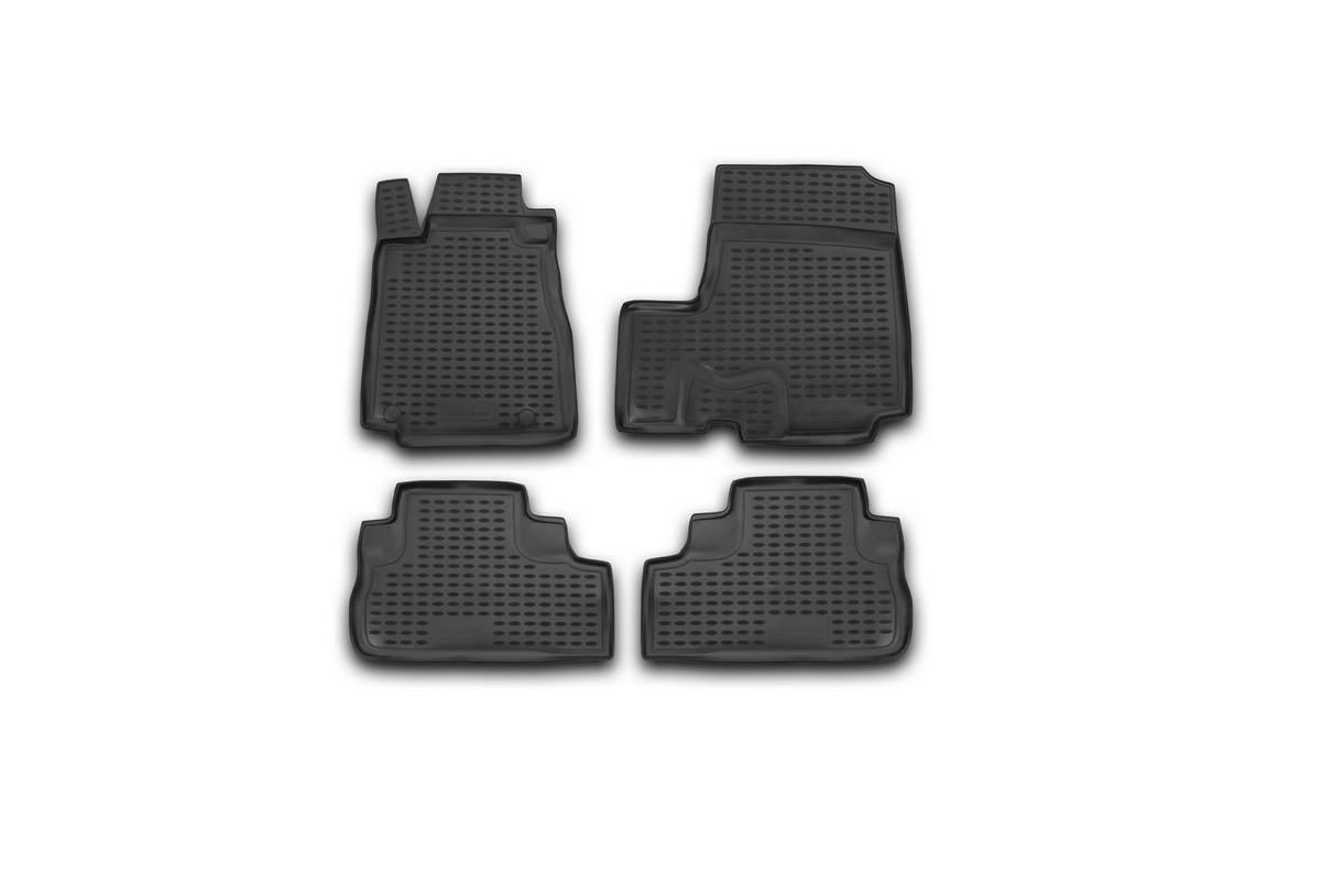 Набор автомобильных ковриков Novline-Autofamily для Honda CR-V III 2007-, в салон, цвет: черный, оранжевый, 4 штVT-1520(SR)Набор автомобильных ковриков Novline-Autofamily, изготовленный из полиуретана, состоит из 4 ковриков, которые учитывают все особенности каждой модели автомобиля и полностью повторяют контуры пола. Полиуретановые автомобильные коврики для салона произведены из высококачественного материала, который держит форму, прочный и не пачкает обувь. Коврики в салон не только улучшат внешний вид салона вашего автомобиля, но и надежно уберегут его от пыли, грязи и сырости, а значит, защитят кузов от коррозии. Полиуретановые коврики для автомобиля гладкие, приятные и не пропускают влагу. Ковры для автомобилей надежно крепятся на полу и не скользят, что очень важно во время движения. Чистятся коврики очень просто: как при помощи автомобильного пылесоса, так и различными моющими средствами. Набор подходит для Honda CR-V III с 2007 года выпуска.