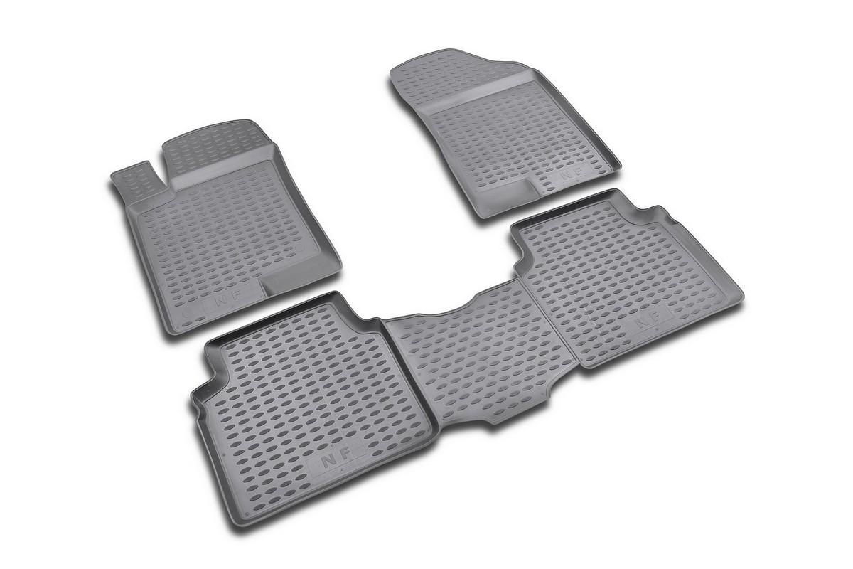 Набор автомобильных ковриков Novline-Autofamily для Hyundai NF 2004-, в салон, 4 штDFS-524Набор автомобильных ковриков Novline-Autofamily, изготовленный из полиуретана, состоит из 4 ковриков, которые учитывают все особенности каждой модели автомобиля и полностью повторяют контуры пола. Полиуретановые автомобильные коврики для салона произведены из высококачественного материала, который держит форму, прочный и не пачкает обувь. Коврики в салон не только улучшат внешний вид салона вашего автомобиля, но и надежно уберегут его от пыли, грязи и сырости, а значит, защитят кузов от коррозии. Полиуретановые коврики для автомобиля гладкие, приятные и не пропускают влагу. Ковры для автомобилей надежно крепятся на полу и не скользят, что очень важно во время движения. Чистятся коврики очень просто: как при помощи автомобильного пылесоса, так и различными моющими средствами. Набор подходит для Hyundai NF 2004 года выпуска.