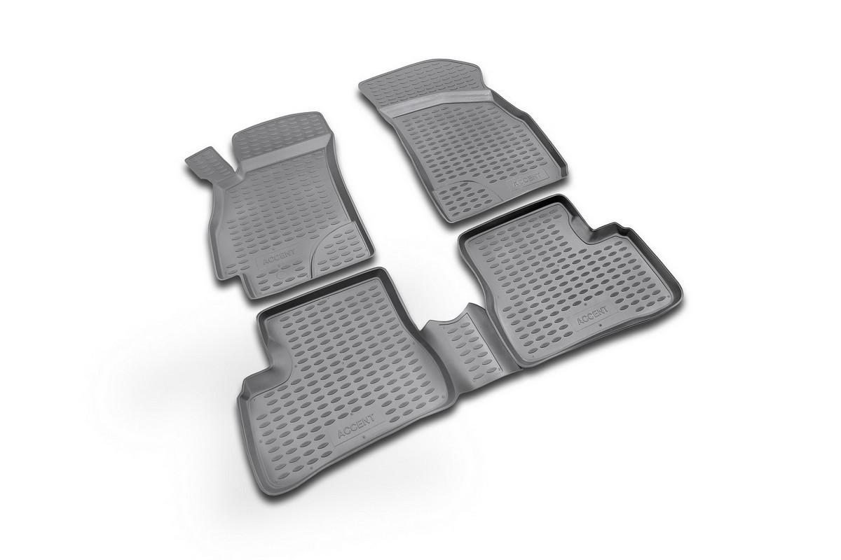 Набор автомобильных ковриков Novline-Autofamily для Hyundai Accent 2000-2005, в салон, цвет: черный, 4 штNLC.20.06.210kНабор автомобильных ковриков Novline-Autofamily, изготовленный из полиуретана, состоит из 4 ковриков, которые учитывают все особенности каждой модели автомобиля и полностью повторяют контуры пола. Полиуретановые автомобильные коврики для салона произведены из высококачественного материала, который держит форму, прочный и не пачкает обувь. Коврики в салон не только улучшат внешний вид салона вашего автомобиля, но и надежно уберегут его от пыли, грязи и сырости, а значит, защитят кузов от коррозии. Полиуретановые коврики для автомобиля гладкие, приятные и не пропускают влагу. Ковры для автомобилей надежно крепятся на полу и не скользят, что очень важно во время движения. Чистятся коврики очень просто: как при помощи автомобильного пылесоса, так и различными моющими средствами. Набор подходит для Hyundai Accent 2000-2005 годов выпуска.