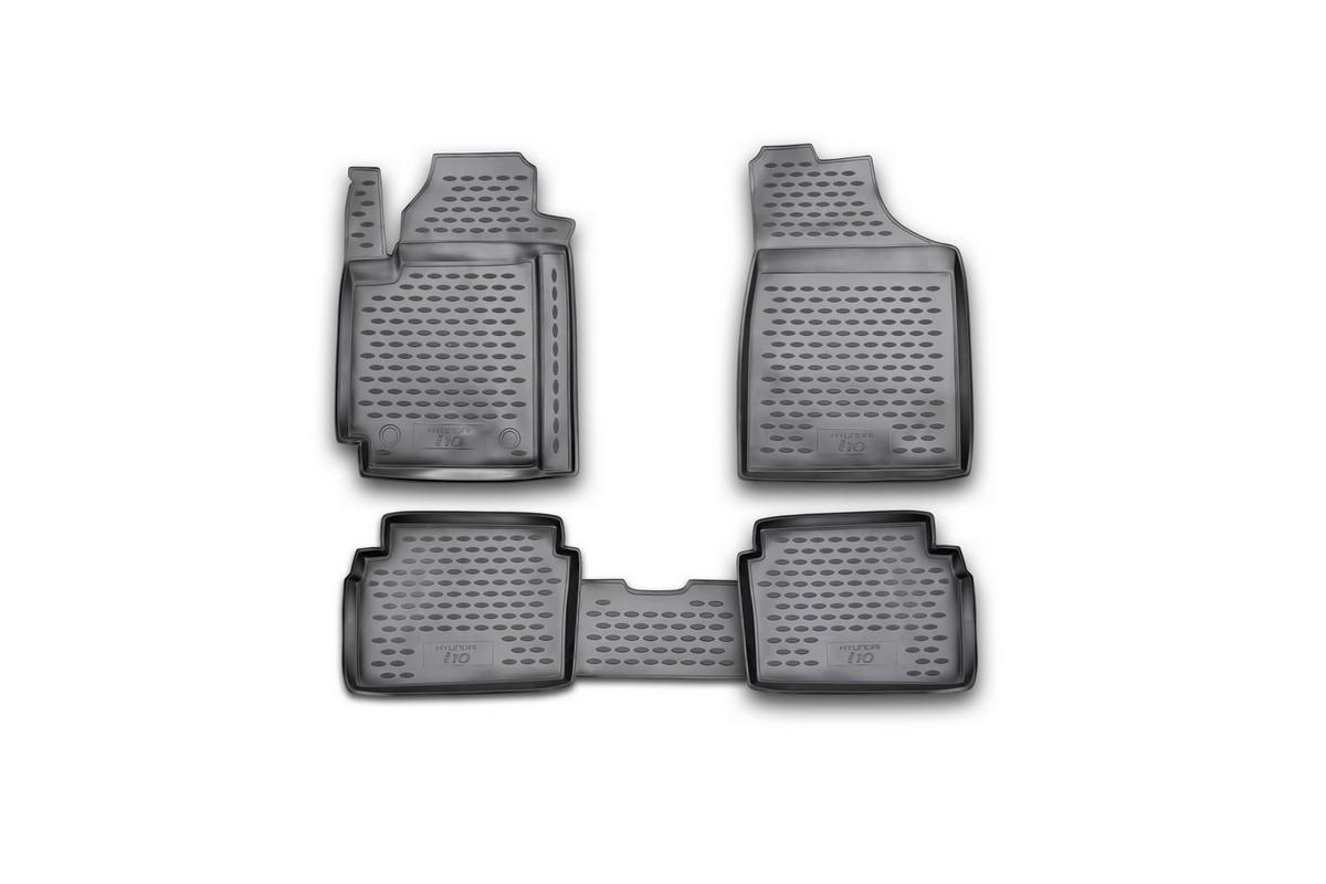 Набор автомобильных ковриков Novline-Autofamily для Hyundai i 10 2008-, в салон, 4 штVT-1520(SR)Набор автомобильных ковриков Novline-Autofamily, изготовленный из полиуретана, состоит из 4 ковриков, которые учитывают все особенности каждой модели автомобиля и полностью повторяют контуры пола. Полиуретановые автомобильные коврики для салона произведены из высококачественного материала, который держит форму, прочный и не пачкает обувь. Коврики в салон не только улучшат внешний вид салона вашего автомобиля, но и надежно уберегут его от пыли, грязи и сырости, а значит, защитят кузов от коррозии. Полиуретановые коврики для автомобиля гладкие, приятные и не пропускают влагу. Ковры для автомобилей надежно крепятся на полу и не скользят, что очень важно во время движения. Чистятся коврики очень просто: как при помощи автомобильного пылесоса, так и различными моющими средствами. Набор подходит для Hyundai i 10 с 2008 года выпуска.