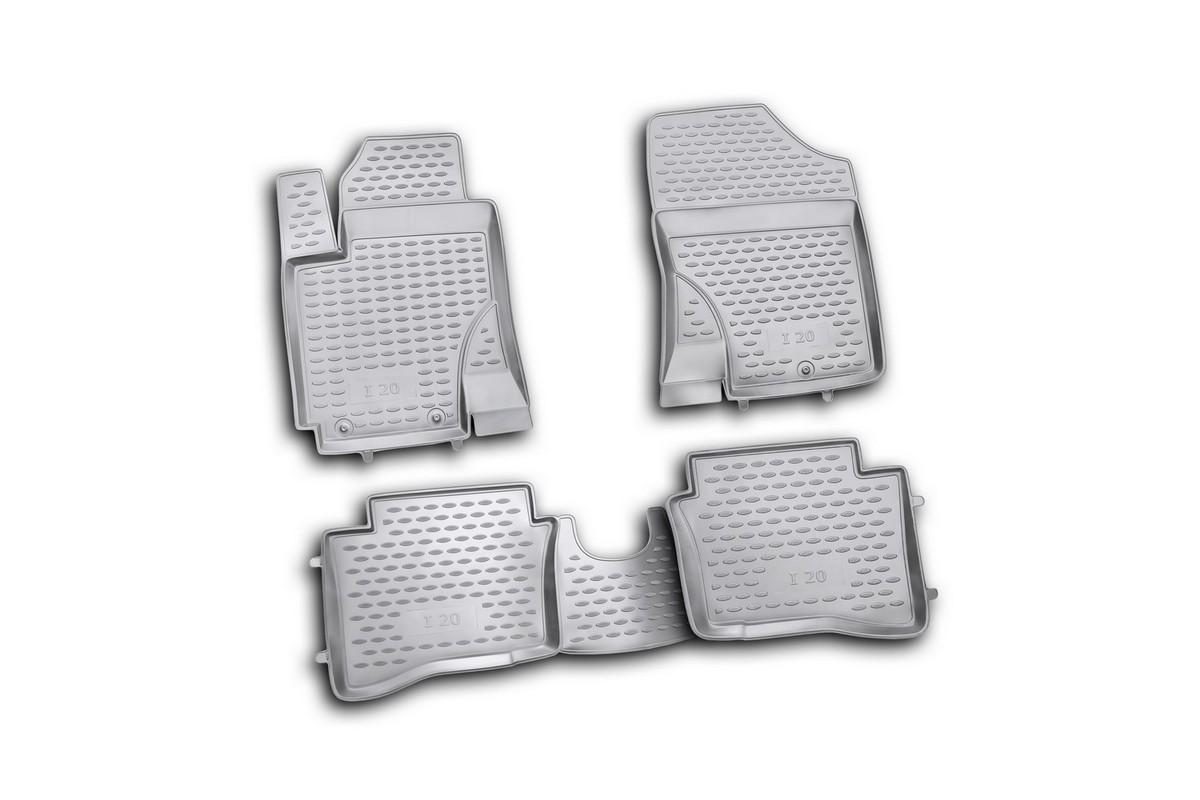 Набор автомобильных ковриков Novline-Autofamily для Hyundai i20 2009-, в салон, 4 шт. NLC.20.32.210hDFS-524Набор автомобильных ковриков Novline-Autofamily, изготовленный из полиуретана, состоит из 4 ковриков, которые учитывают все особенности каждой модели автомобиля и полностью повторяют контуры пола. Полиуретановые автомобильные коврики для салона произведены из высококачественного материала, который держит форму, прочный и не пачкает обувь. Коврики в салон не только улучшат внешний вид салона вашего автомобиля, но и надежно уберегут его от пыли, грязи и сырости, а значит, защитят кузов от коррозии. Полиуретановые коврики для автомобиля гладкие, приятные и не пропускают влагу. Ковры для автомобилей надежно крепятся на полу и не скользят, что очень важно во время движения. Чистятся коврики очень просто: как при помощи автомобильного пылесоса, так и различными моющими средствами. Набор подходит для Hyundai i20 с 2009 года выпуска.