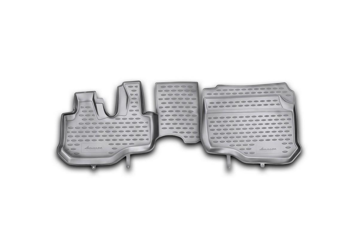 Набор автомобильных ковриков Novline-Autofamily для Hyundai HD 35 2011-, в салон, 2 штNLC.20.49.210hНабор автомобильных ковриков Novline-Autofamily, изготовленный из полиуретана, состоит из 2 ковриков, которые учитывают все особенности каждой модели автомобиля и полностью повторяют контуры пола. Полиуретановые автомобильные коврики для салона произведены из высококачественного материала, который держит форму, прочный и не пачкает обувь. Коврики в салон не только улучшат внешний вид салона вашего автомобиля, но и надежно уберегут его от пыли, грязи и сырости, а значит, защитят кузов от коррозии. Полиуретановые коврики для автомобиля гладкие, приятные и не пропускают влагу. Ковры для автомобилей надежно крепятся на полу и не скользят, что очень важно во время движения. Чистятся коврики очень просто: как при помощи автомобильного пылесоса, так и различными моющими средствами. Набор подходит для Hyundai HD 35 с 2011 года выпуска.