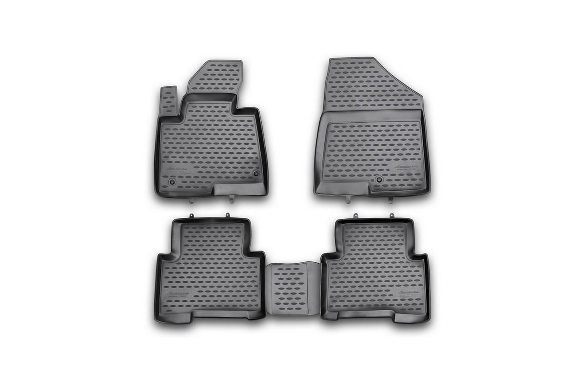 Набор автомобильных ковриков Novline-Autofamily для Hyundai Santa Fe 2012-, в салон, 4 штNLC.20.53.210hНабор автомобильных ковриков Novline-Autofamily, изготовленный из полиуретана, состоит из 4 ковриков, которые учитывают все особенности каждой модели автомобиля и полностью повторяют контуры пола. Полиуретановые автомобильные коврики для салона произведены из высококачественного материала, который держит форму, прочный и не пачкает обувь. Коврики в салон не только улучшат внешний вид салона вашего автомобиля, но и надежно уберегут его от пыли, грязи и сырости, а значит, защитят кузов от коррозии. Полиуретановые коврики для автомобиля гладкие, приятные и не пропускают влагу. Ковры для автомобилей надежно крепятся на полу и не скользят, что очень важно во время движения. Чистятся коврики очень просто: как при помощи автомобильного пылесоса, так и различными моющими средствами. Набор подходит для Hyundai Santa Fe с 2012 года выпуска.