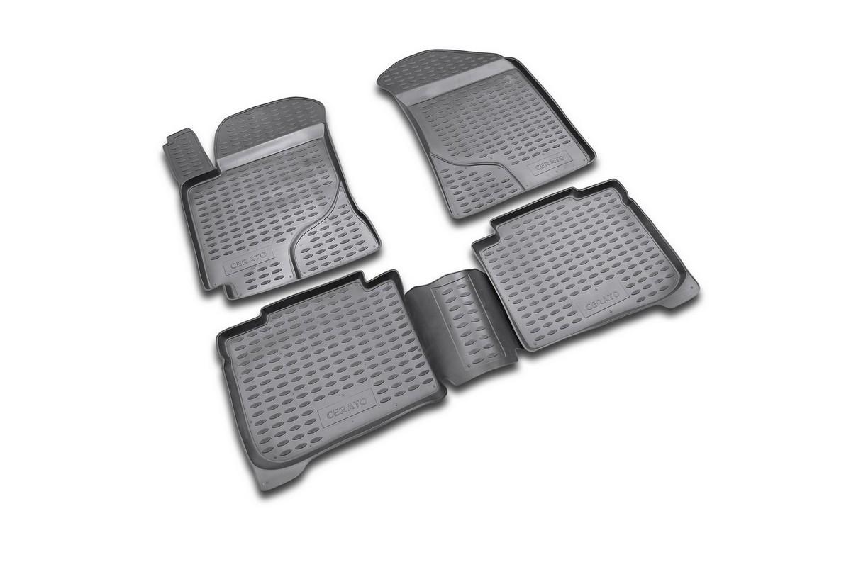 Набор автомобильных ковриков Novline-Autofamily для Kia Cerato 2004-2009, в салон, 4 шт. NLC.25.11.210DFS-524Набор автомобильных ковриков Novline-Autofamily, изготовленный из полиуретана, состоит из 4 ковриков, которые учитывают все особенности каждой модели автомобиля и полностью повторяют контуры пола. Полиуретановые автомобильные коврики для салона произведены из высококачественного материала, который держит форму, прочный и не пачкает обувь. Коврики в салон не только улучшат внешний вид салона вашего автомобиля, но и надежно уберегут его от пыли, грязи и сырости, а значит, защитят кузов от коррозии. Полиуретановые коврики для автомобиля гладкие, приятные и не пропускают влагу. Ковры для автомобилей надежно крепятся на полу и не скользят, что очень важно во время движения. Чистятся коврики очень просто: как при помощи автомобильного пылесоса, так и различными моющими средствами. Набор подходит для Kia Cerato 2004-2009 годов выпуска.