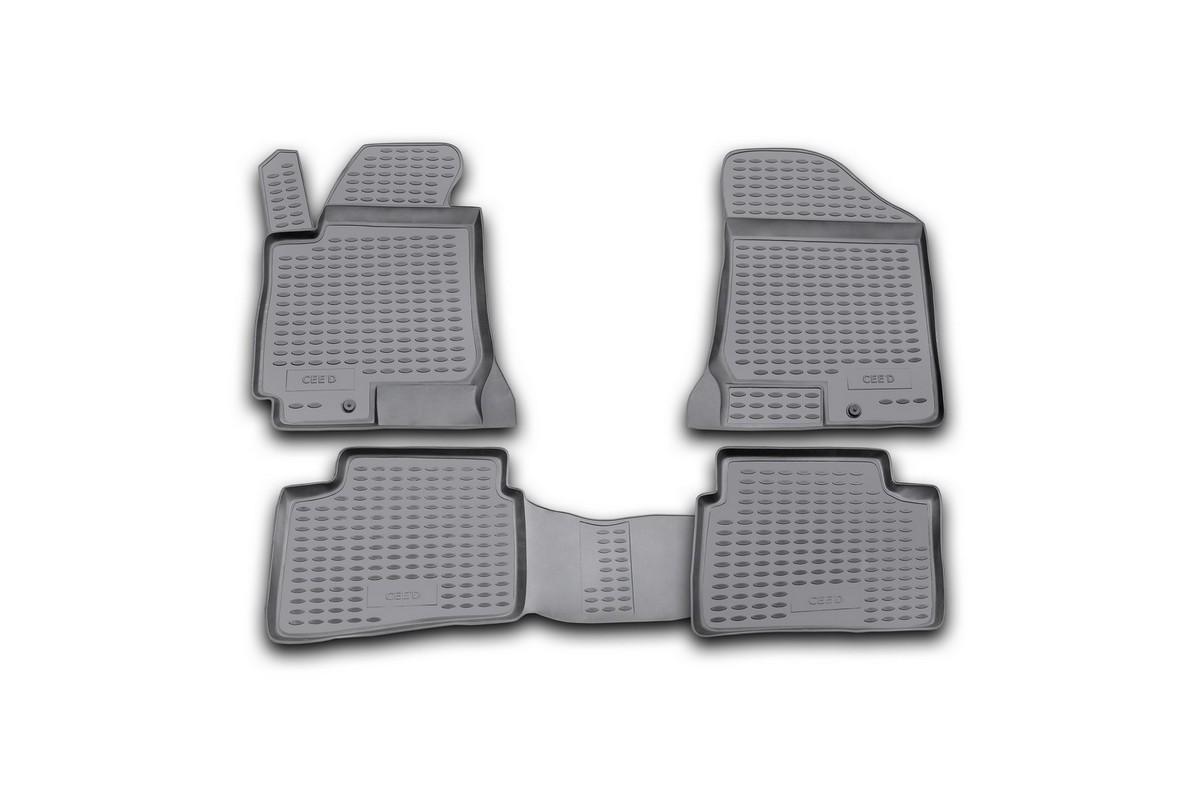 Набор автомобильных ковриков Novline-Autofamily для Kia Ceed 2006-, в салон, 4 шт. NLC.25.20.210hDFS-524Набор автомобильных ковриков Novline-Autofamily, изготовленный из полиуретана, состоит из 4 ковриков, которые учитывают все особенности каждой модели автомобиля и полностью повторяют контуры пола. Полиуретановые автомобильные коврики для салона произведены из высококачественного материала, который держит форму, прочный и не пачкает обувь. Коврики в салон не только улучшат внешний вид салона вашего автомобиля, но и надежно уберегут его от пыли, грязи и сырости, а значит, защитят кузов от коррозии. Полиуретановые коврики для автомобиля гладкие, приятные и не пропускают влагу. Ковры для автомобилей надежно крепятся на полу и не скользят, что очень важно во время движения. Чистятся коврики очень просто: как при помощи автомобильного пылесоса, так и различными моющими средствами. Набор подходит для Kia Ceed с 2006 года выпуска.