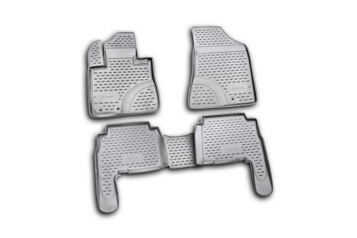 Набор автомобильных ковриков Novline-Autofamily для Kia Sorento 08/2009-2012, в салон, 4 штNLC.25.28.210Набор автомобильных ковриков Novline-Autofamily, изготовленный из полиуретана, состоит из 4 ковриков, которые учитывают все особенности каждой модели автомобиля и полностью повторяют контуры пола. Полиуретановые автомобильные коврики для салона произведены из высококачественного материала, который держит форму, прочный и не пачкает обувь. Коврики в салон не только улучшат внешний вид салона вашего автомобиля, но и надежно уберегут его от пыли, грязи и сырости, а значит, защитят кузов от коррозии. Полиуретановые коврики для автомобиля гладкие, приятные и не пропускают влагу. Ковры для автомобилей надежно крепятся на полу и не скользят, что очень важно во время движения. Чистятся коврики очень просто: как при помощи автомобильного пылесоса, так и различными моющими средствами. Набор подходит для Kia Sorento август 2009 - 2012 годов выпуска.