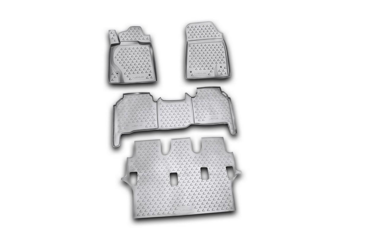Набор автомобильных ковриков Novline-Autofamily для Lexus LX570 2007-2012, в салон, цвет: черный, 4 штNLC.29.07.210kНабор автомобильных ковриков Novline-Autofamily, изготовленный из полиуретана, состоит из 4 ковриков, которые учитывают все особенности каждой модели автомобиля и полностью повторяют контуры пола. Полиуретановые автомобильные коврики для салона произведены из высококачественного материала, который держит форму, прочный и не пачкает обувь. Коврики в салон не только улучшат внешний вид салона вашего автомобиля, но и надежно уберегут его от пыли, грязи и сырости, а значит, защитят кузов от коррозии. Полиуретановые коврики для автомобиля гладкие, приятные и не пропускают влагу. Ковры для автомобилей надежно крепятся на полу и не скользят, что очень важно во время движения. Чистятся коврики очень просто: как при помощи автомобильного пылесоса, так и различными моющими средствами. Набор подходит для Lexus LX570 2007-2012 годов выпуска.