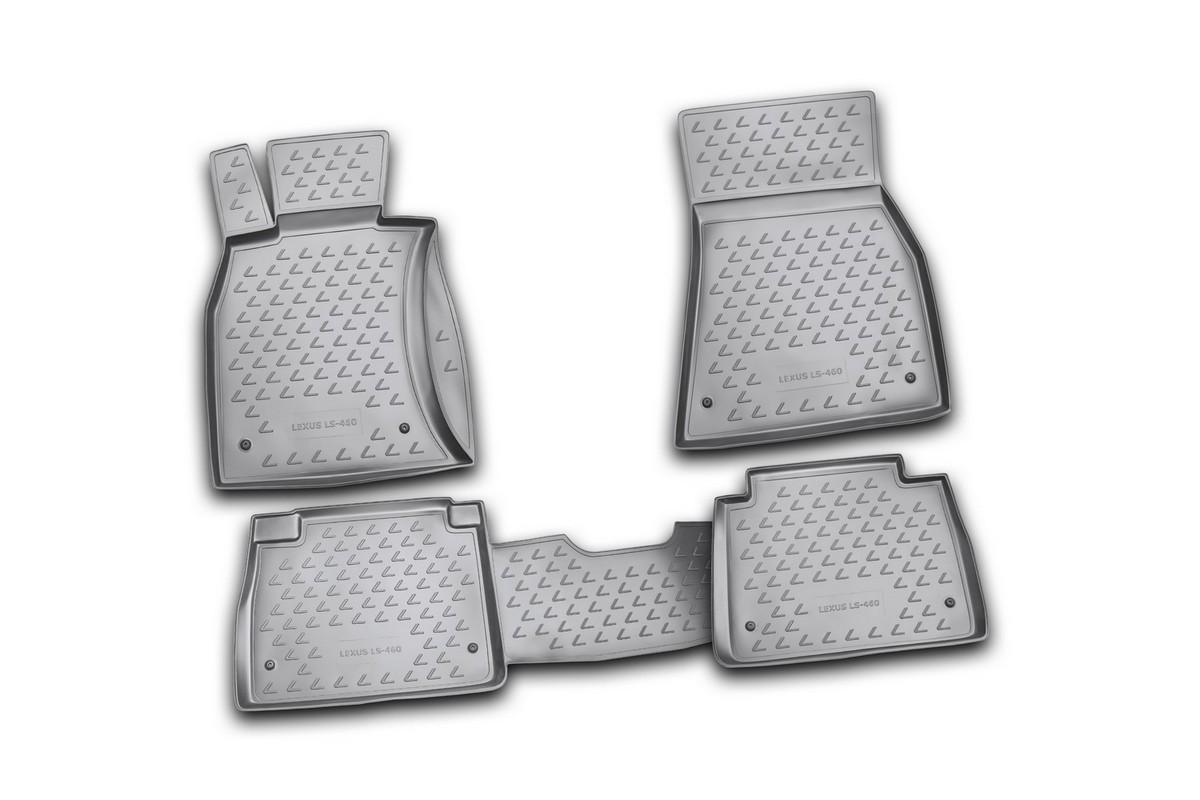 Набор автомобильных ковриков Novline-Autofamily для Lexus LS460 07/2006-, в салон, цвет: черный, 4 штNLC.29.11.210kНабор автомобильных ковриков Novline-Autofamily, изготовленный из полиуретана, состоит из 4 ковриков, которые учитывают все особенности каждой модели автомобиля и полностью повторяют контуры пола. Полиуретановые автомобильные коврики для салона произведены из высококачественного материала, который держит форму, прочный и не пачкает обувь. Коврики в салон не только улучшат внешний вид салона вашего автомобиля, но и надежно уберегут его от пыли, грязи и сырости, а значит, защитят кузов от коррозии. Полиуретановые коврики для автомобиля гладкие, приятные и не пропускают влагу. Ковры для автомобилей надежно крепятся на полу и не скользят, что очень важно во время движения. Чистятся коврики очень просто: как при помощи автомобильного пылесоса, так и различными моющими средствами. Набор подходит для Lexus LS460 с июля 2006 года выпуска.