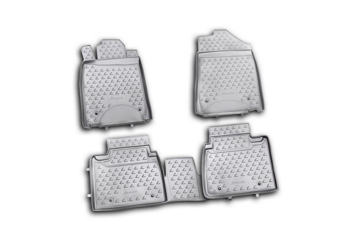 Набор автомобильных ковриков Novline-Autofamily для Lexus ES350 10/2010-2012 , в салон, цвет: черный, 4 штVT-1520(SR)Набор автомобильных ковриков Novline-Autofamily, изготовленный из полиуретана, состоит из 4 ковриков, которые учитывают все особенности каждой модели автомобиля и полностью повторяют контуры пола. Полиуретановые автомобильные коврики для салона произведены из высококачественного материала, который держит форму, прочный и не пачкает обувь. Коврики в салон не только улучшат внешний вид салона вашего автомобиля, но и надежно уберегут его от пыли, грязи и сырости, а значит, защитят кузов от коррозии. Полиуретановые коврики для автомобиля гладкие, приятные и не пропускают влагу. Ковры для автомобилей надежно крепятся на полу и не скользят, что очень важно во время движения. Чистятся коврики очень просто: как при помощи автомобильного пылесоса, так и различными моющими средствами. Набор подходит для Lexus ES350 октябрь 2010-2012 годов выпуска.