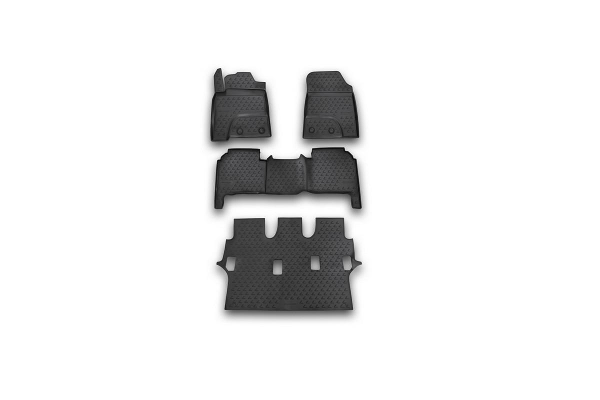 Набор автомобильных ковриков Novline-Autofamily для Lexus LX570 7 мест 2012-, в салон, цвет: черный, 4 штNLC.29.23.210kНабор автомобильных ковриков Novline-Autofamily, изготовленный из полиуретана, состоит из 4 ковриков, которые учитывают все особенности каждой модели автомобиля и полностью повторяют контуры пола. Полиуретановые автомобильные коврики для салона произведены из высококачественного материала, который держит форму, прочный и не пачкает обувь. Коврики в салон не только улучшат внешний вид салона вашего автомобиля, но и надежно уберегут его от пыли, грязи и сырости, а значит, защитят кузов от коррозии. Полиуретановые коврики для автомобиля гладкие, приятные и не пропускают влагу. Ковры для автомобилей надежно крепятся на полу и не скользят, что очень важно во время движения. Чистятся коврики очень просто: как при помощи автомобильного пылесоса, так и различными моющими средствами. Набор подходит для Lexus LX570 7 мест с 2012 года выпуска.
