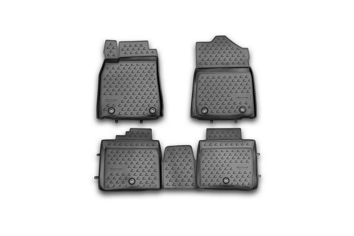 Набор автомобильных ковриков Novline-Autofamily для Lexus ES 250/350, 300h, 2012-, в салон, 4 штNLC.29.26.210khНабор автомобильных ковриков Novline-Autofamily, изготовленный из полиуретана, состоит из 4 ковриков, которые учитывают все особенности каждой модели автомобиля и полностью повторяют контуры пола. Полиуретановые автомобильные коврики для салона произведены из высококачественного материала, который держит форму, прочный и не пачкает обувь. Коврики в салон не только улучшат внешний вид салона вашего автомобиля, но и надежно уберегут его от пыли, грязи и сырости, а значит, защитят кузов от коррозии. Полиуретановые коврики для автомобиля гладкие, приятные и не пропускают влагу. Ковры для автомобилей надежно крепятся на полу и не скользят, что очень важно во время движения. Чистятся коврики очень просто: как при помощи автомобильного пылесоса, так и различными моющими средствами. Набор подходит для Lexus ES 250/350, 300h с 2012 года выпуска.