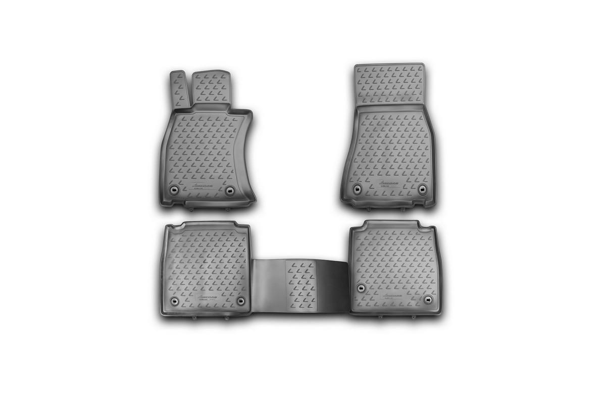 Набор автомобильных ковриков Novline-Autofamily для Lexus LS 460 L 2012-, в салон, 4 штNLC.29.28.210khНабор автомобильных ковриков Novline-Autofamily, изготовленный из полиуретана, состоит из 4 ковриков, которые учитывают все особенности каждой модели автомобиля и полностью повторяют контуры пола. Полиуретановые автомобильные коврики для салона произведены из высококачественного материала, который держит форму, прочный и не пачкает обувь. Коврики в салон не только улучшат внешний вид салона вашего автомобиля, но и надежно уберегут его от пыли, грязи и сырости, а значит, защитят кузов от коррозии. Полиуретановые коврики для автомобиля гладкие, приятные и не пропускают влагу. Ковры для автомобилей надежно крепятся на полу и не скользят, что очень важно во время движения. Чистятся коврики очень просто: как при помощи автомобильного пылесоса, так и различными моющими средствами. Набор подходит для Lexus LS 460 L c 2012 года выпуска.