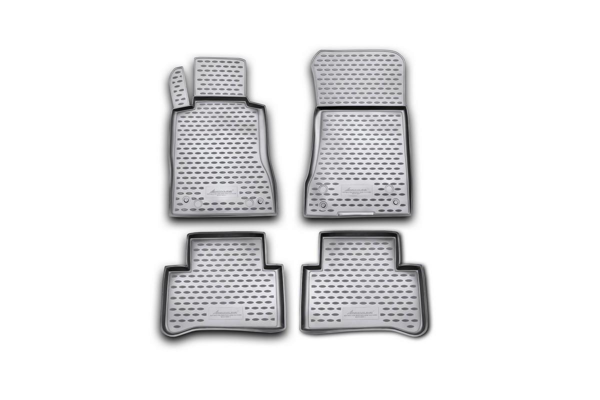Набор автомобильных ковриков Novline-Autofamily для Mercedes-Benz СLS-Class W219 2004-, в салон, цвет: черный, 4 штNLC.34.30.210kНабор автомобильных ковриков Novline-Autofamily, изготовленный из полиуретана, состоит из 4 ковриков, которые учитывают все особенности каждой модели автомобиля и полностью повторяют контуры пола. Полиуретановые автомобильные коврики для салона произведены из высококачественного материала, который держит форму, прочный и не пачкает обувь. Коврики в салон не только улучшат внешний вид салона вашего автомобиля, но и надежно уберегут его от пыли, грязи и сырости, а значит, защитят кузов от коррозии. Полиуретановые коврики для автомобиля гладкие, приятные и не пропускают влагу. Ковры для автомобилей надежно крепятся на полу и не скользят, что очень важно во время движения. Чистятся коврики очень просто: как при помощи автомобильного пылесоса, так и различными моющими средствами. Набор подходит для Mercedes-Benz СLS-Class W219 с 2004 года выпуска.