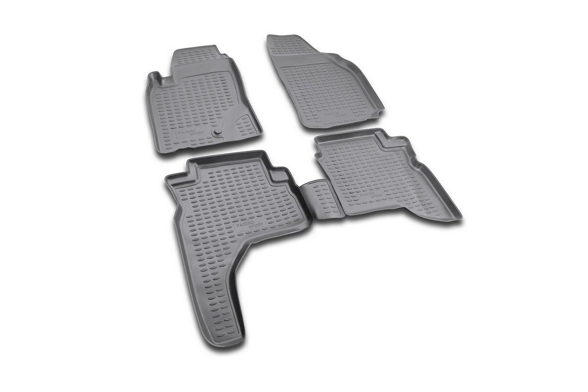 Набор автомобильных ковриков Novline-Autofamily для Mitsubishi Pajero Sport 1997-2008, в салон, цвет: черный, 4 штVT-1520(SR)Набор автомобильных ковриков Novline-Autofamily, изготовленный из полиуретана, состоит из 4 ковриков, которые учитывают все особенности каждой модели автомобиля и полностью повторяют контуры пола. Полиуретановые автомобильные коврики для салона произведены из высококачественного материала, который держит форму, прочный и не пачкает обувь. Коврики в салон не только улучшат внешний вид салона вашего автомобиля, но и надежно уберегут его от пыли, грязи и сырости, а значит, защитят кузов от коррозии. Полиуретановые коврики для автомобиля гладкие, приятные и не пропускают влагу. Ковры для автомобилей надежно крепятся на полу и не скользят, что очень важно во время движения. Чистятся коврики очень просто: как при помощи автомобильного пылесоса, так и различными моющими средствами. Набор подходит для Mitsubishi Pajero Sport 1997-2008 годов выпуска.