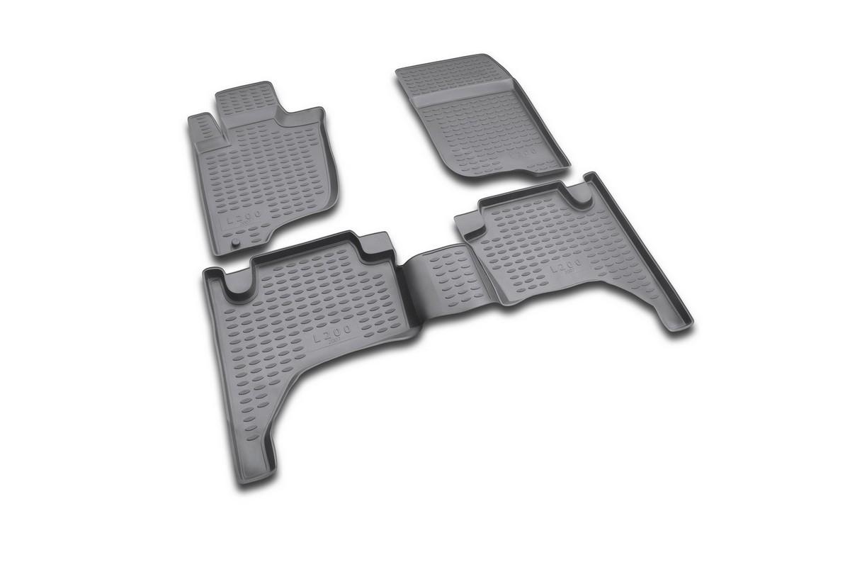 Набор автомобильных ковриков в салон Novline-Autofamily для Mitsubishi L 200 IV, 2005 - 2015, 4 штNLC.35.15.210Набор автомобильных ковриков Novline-Autofamily, изготовленный из полиуретана, состоит из 4 ковриков, которые учитывают все особенности каждой модели автомобиля и полностью повторяют контуры пола. Полиуретановые автомобильные коврики для салона произведены из высококачественного материала, который держит форму, прочный и не пачкает обувь. Коврики в салон не только улучшат внешний вид салона вашего автомобиля, но и надежно уберегут его от пыли, грязи и сырости, а значит, защитят кузов от коррозии. Полиуретановые коврики для автомобиля гладкие, приятные и не пропускают влагу. Ковры для автомобилей надежно крепятся на полу и не скользят, что очень важно во время движения. Чистятся коврики очень просто: как при помощи автомобильного пылесоса, так и различными моющими средствами. Набор подходит для Mitsubishi L-200 IV 2005-2015 годов выпуска.