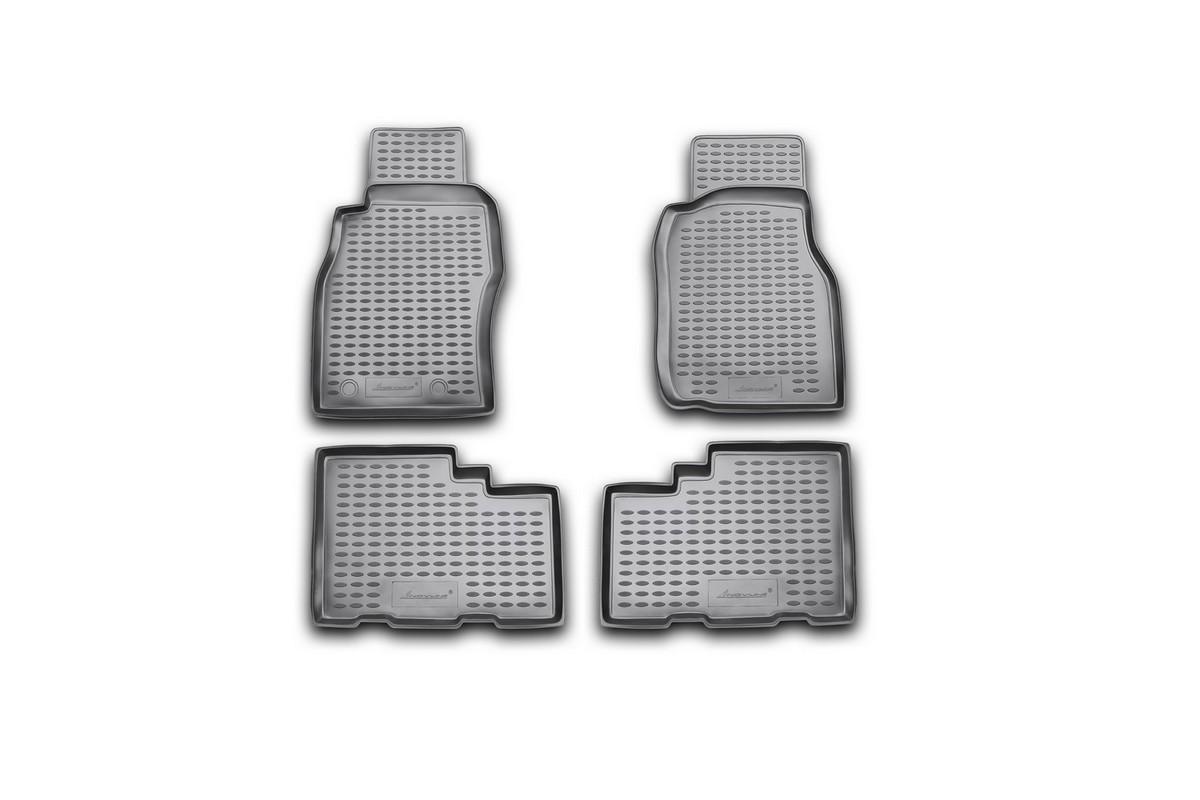Набор автомобильных ковриков Novline-Autofamily для Nissan Patrol 1997-2010, в салон, 4 шт. NLC.36.14.210NLC.36.14.210Набор автомобильных ковриков Novline-Autofamily, изготовленный из полиуретана, состоит из 4 ковриков, которые учитывают все особенности каждой модели автомобиля и полностью повторяют контуры пола. Полиуретановые автомобильные коврики для салона произведены из высококачественного материала, который держит форму, прочный и не пачкает обувь. Коврики в салон не только улучшат внешний вид салона вашего автомобиля, но и надежно уберегут его от пыли, грязи и сырости, а значит, защитят кузов от коррозии. Полиуретановые коврики для автомобиля гладкие, приятные и не пропускают влагу. Ковры для автомобилей надежно крепятся на полу и не скользят, что очень важно во время движения. Чистятся коврики очень просто: как при помощи автомобильного пылесоса, так и различными моющими средствами. Набор подходит для Nissan Patrol 1997-2010 годов выпуска.
