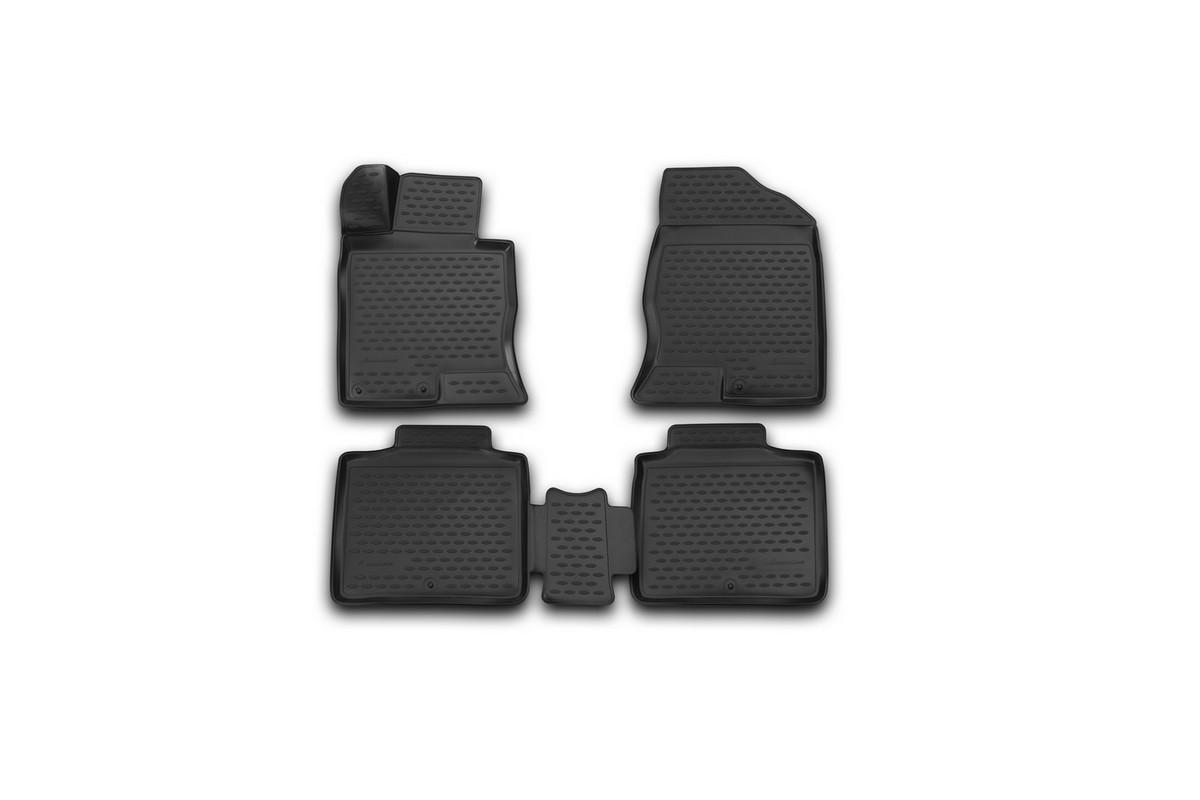 Набор автомобильных 3D-ковриков Novline-Autofamily для Hyundai Grandeur, 2012->, в салон, 4 штNLC.3D.20.54.210Набор Novline-Autofamily состоит из 4 ковриков, изготовленных из полиуретана. Основная функция ковров - защита салона автомобиля от загрязнения и влаги. Это достигается за счет высоких бортов, перемычки на тоннель заднего ряда сидений, элементов формы и текстуры, свойств материала, а также запатентованной технологией 3D-перемычки в зоне отдыха ноги водителя, что обеспечивает дополнительную защиту, сохраняя салон автомобиля в первозданном виде. Материал, из которого сделаны коврики, обладает антискользящими свойствами. Для фиксации ковров в салоне автомобиля в комплекте с ними используются специальные крепежи. Форма передней части водительского ковра, уходящая под педаль акселератора, исключает нештатное заедание педалей. Набор подходит для Hyundai Grandeur с 2012 года выпуска.