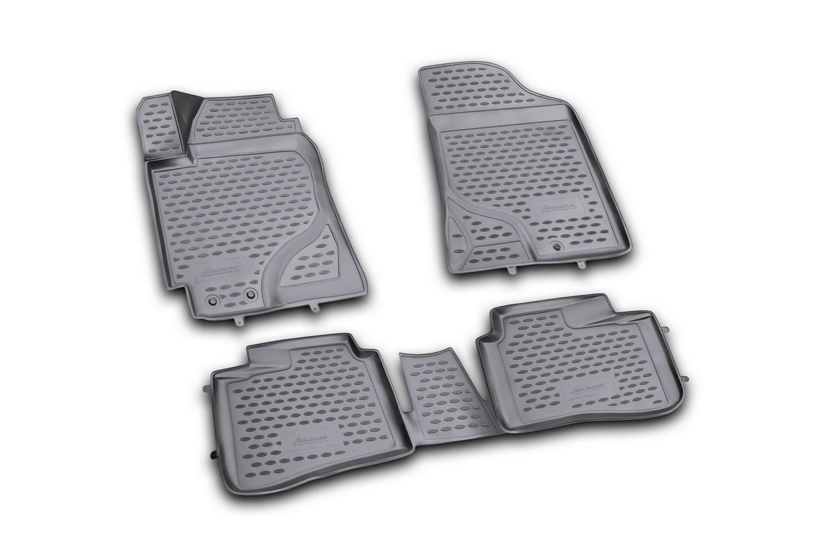 Набор автомобильных 3D-ковриков Novline-Autofamily для Kia Cerato, 2009-2013, в салон, 4 штNLC.3D.25.26.210Набор Novline-Autofamily состоит из 4 ковриков, изготовленных из полиуретана. Основная функция ковров - защита салона автомобиля от загрязнения и влаги. Это достигается за счет высоких бортов, перемычки на тоннель заднего ряда сидений, элементов формы и текстуры, свойств материала, а также запатентованной технологией 3D-перемычки в зоне отдыха ноги водителя, что обеспечивает дополнительную защиту, сохраняя салон автомобиля в первозданном виде. Материал, из которого сделаны коврики, обладает антискользящими свойствами. Для фиксации ковров в салоне автомобиля в комплекте с ними используются специальные крепежи. Форма передней части водительского ковра, уходящая под педаль акселератора, исключает нештатное заедание педалей. Набор подходит для Kia Cerato 2009-2013 года выпуска.