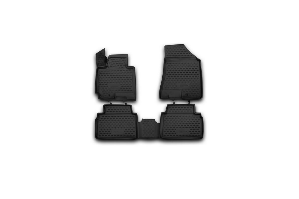Набор автомобильных 3D-ковриков Novline-Autofamily для Kia Sportage, 2010->, в салон, 4 штVT-1520(SR)Набор Novline-Autofamily состоит из 4 ковриков, изготовленных из полиуретана.Основная функция ковров - защита салона автомобиля от загрязнения и влаги. Это достигается за счет высоких бортов, перемычки на тоннель заднего ряда сидений, элементов формы и текстуры, свойств материала, а также запатентованной технологией 3D-перемычки в зоне отдыха ноги водителя, что обеспечивает дополнительную защиту, сохраняя салон автомобиля в первозданном виде.Материал, из которого сделаны коврики, обладает антискользящими свойствами. Для фиксации ковров в салоне автомобиля в комплекте с ними используются специальные крепежи. Форма передней части водительского ковра, уходящая под педаль акселератора, исключает нештатное заедание педалей.Набор подходит для Kia Sportage с 2010 года выпуска.