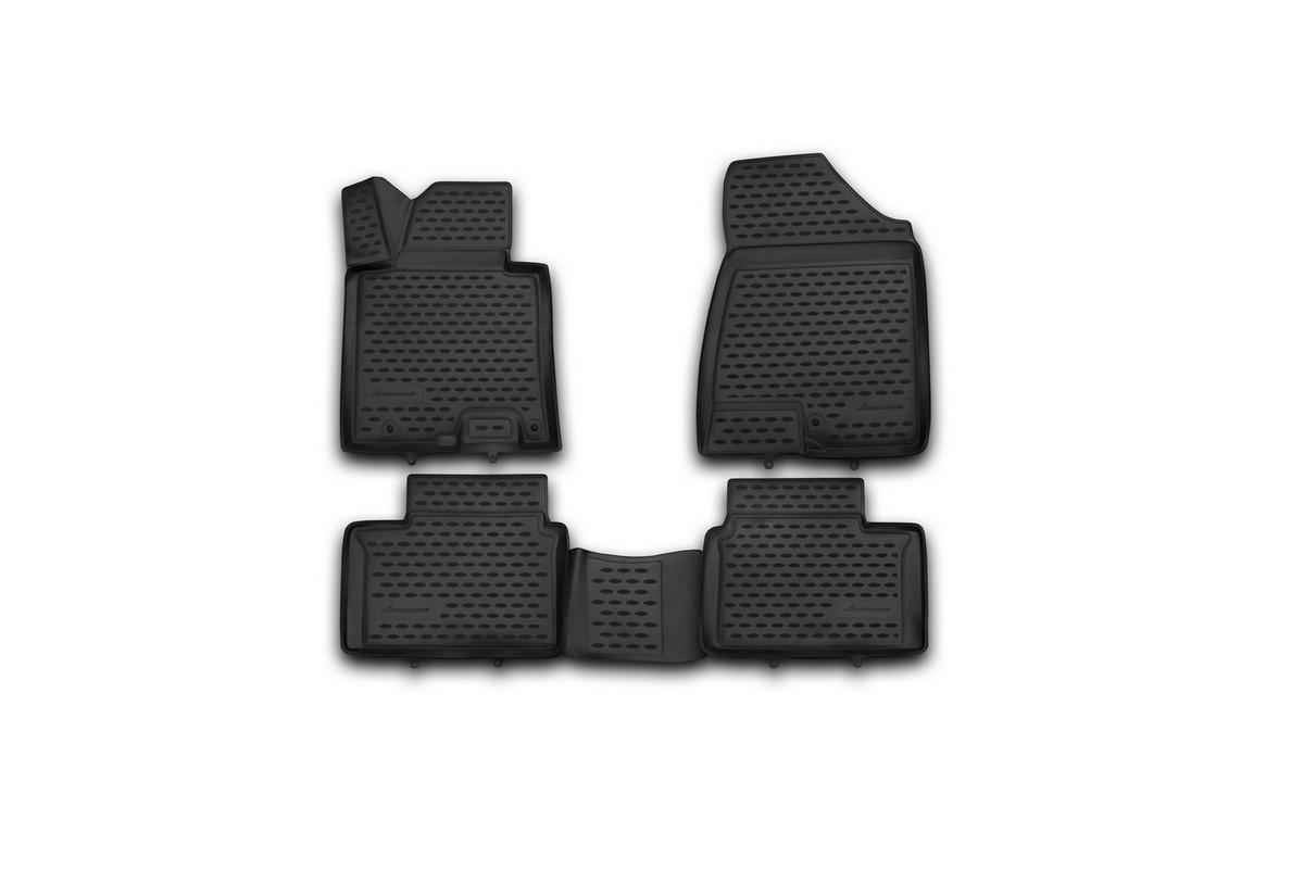 Набор автомобильных 3D-ковриков Novline-Autofamily для Kia Pro Ceed, 2013->, в салон, 4 штNLC.3D.25.45.210hНабор Novline-Autofamily состоит из 4 ковриков, изготовленных из полиуретана. Основная функция ковров - защита салона автомобиля от загрязнения и влаги. Это достигается за счет высоких бортов, перемычки на тоннель заднего ряда сидений, элементов формы и текстуры, свойств материала, а также запатентованной технологией 3D-перемычки в зоне отдыха ноги водителя, что обеспечивает дополнительную защиту, сохраняя салон автомобиля в первозданном виде. Материал, из которого сделаны коврики, обладает антискользящими свойствами. Для фиксации ковров в салоне автомобиля в комплекте с ними используются специальные крепежи. Форма передней части водительского ковра, уходящая под педаль акселератора, исключает нештатное заедание педалей. Набор подходит для Kia Pro Ceed с 2013 года выпуска.