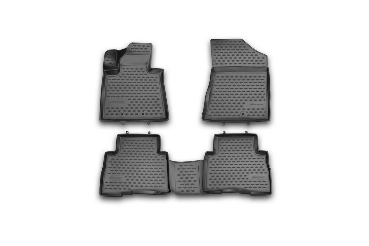Набор автомобильных 3D-ковриков Novline-Autofamily для Kia Sorento, 2012->, в салон, 4 штNLC.3D.25.46.210hНабор Novline-Autofamily состоит из 4 ковриков, изготовленных из полиуретана. Основная функция ковров - защита салона автомобиля от загрязнения и влаги. Это достигается за счет высоких бортов, перемычки на тоннель заднего ряда сидений, элементов формы и текстуры, свойств материала, а также запатентованной технологией 3D-перемычки в зоне отдыха ноги водителя, что обеспечивает дополнительную защиту, сохраняя салон автомобиля в первозданном виде. Материал, из которого сделаны коврики, обладает антискользящими свойствами. Для фиксации ковров в салоне автомобиля в комплекте с ними используются специальные крепежи. Форма передней части водительского ковра, уходящая под педаль акселератора, исключает нештатное заедание педалей. Набор подходит для Kia Sorento с 2012 года выпуска.