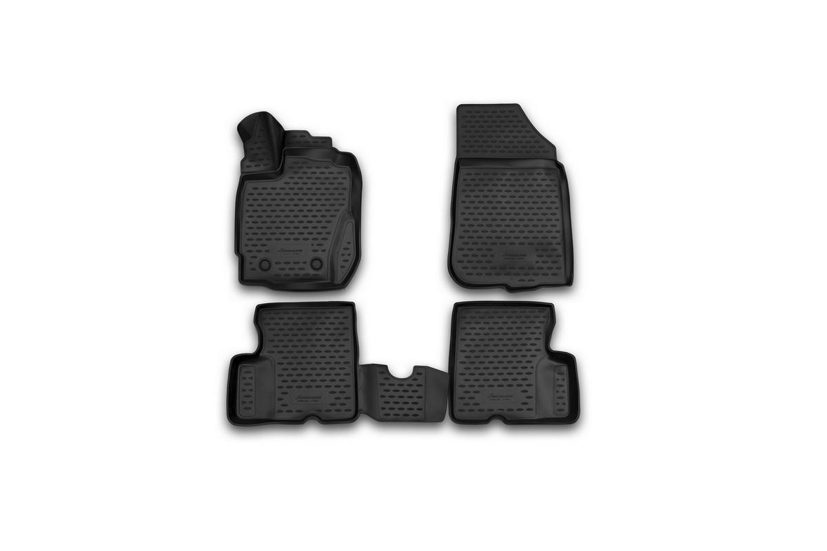 Набор автомобильных 3D-ковриков Novline-Autofamily для Renault Duster, 2015->, в салон, 4 штNLC.3D.41.40.210kНабор Novline-Autofamily состоит из 4 ковриков, изготовленных из полиуретана. Основная функция ковров - защита салона автомобиля от загрязнения и влаги. Это достигается за счет высоких бортов, перемычки на тоннель заднего ряда сидений, элементов формы и текстуры, свойств материала, а также запатентованной технологией 3D-перемычки в зоне отдыха ноги водителя, что обеспечивает дополнительную защиту, сохраняя салон автомобиля в первозданном виде. Материал, из которого сделаны коврики, обладает антискользящими свойствами. Для фиксации ковров в салоне автомобиля в комплекте с ними используются специальные крепежи. Форма передней части водительского ковра, уходящая под педаль акселератора, исключает нештатное заедание педалей. Набор подходит для Renault Duster с 2015 года выпуска.