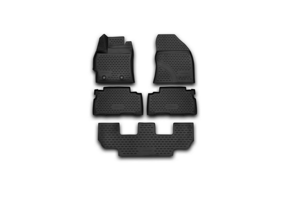Набор автомобильных 3D-ковриков Novline-Autofamily для Toyota Verso, 2013->, в салон, 5 штNLC.3D.48.61.210kНабор Novline-Autofamily состоит из 5 ковриков, изготовленных из полиуретана. Основная функция ковров - защита салона автомобиля от загрязнения и влаги. Это достигается за счет высоких бортов, перемычки на тоннель заднего ряда сидений, элементов формы и текстуры, свойств материала, а также запатентованной технологией 3D-перемычки в зоне отдыха ноги водителя, что обеспечивает дополнительную защиту, сохраняя салон автомобиля в первозданном виде. Материал, из которого сделаны коврики, обладает антискользящими свойствами. Для фиксации ковров в салоне автомобиля в комплекте с ними используются специальные крепежи. Форма передней части водительского ковра, уходящая под педаль акселератора, исключает нештатное заедание педалей. Набор подходит для Toyota Verso с 2013 года выпуска.