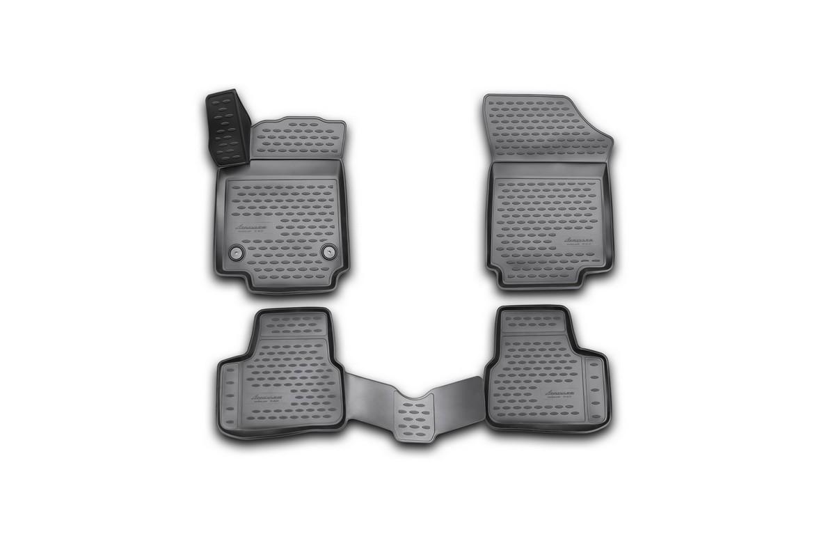 Набор автомобильных 3D-ковриков Novline-Autofamily для Volkswagen Up, 2011->, в салон, 4 штVT-1520(SR)Набор Novline-Autofamily состоит из 4 ковриков, изготовленных из полиуретана.Основная функция ковров - защита салона автомобиля от загрязнения и влаги. Это достигается за счет высоких бортов, перемычки на тоннель заднего ряда сидений, элементов формы и текстуры, свойств материала, а также запатентованной технологией 3D-перемычки в зоне отдыха ноги водителя, что обеспечивает дополнительную защиту, сохраняя салон автомобиля в первозданном виде.Материал, из которого сделаны коврики, обладает антискользящими свойствами. Для фиксации ковров в салоне автомобиля в комплекте с ними используются специальные крепежи. Форма передней части водительского ковра, уходящая под педаль акселератора, исключает нештатное заедание педалей.Набор подходит для Volkswagen Up с 2011 года выпуска.