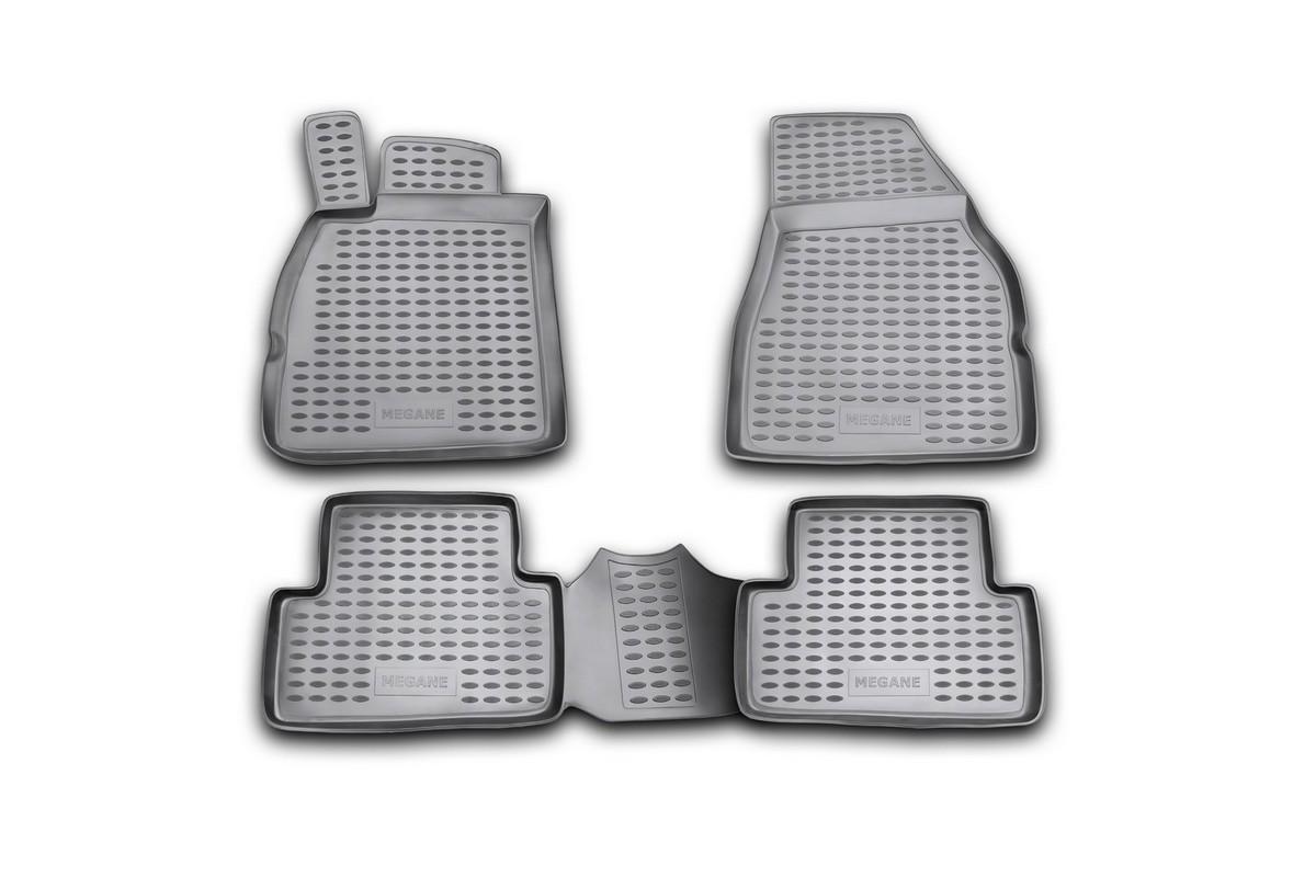 Набор автомобильных ковриков Novline-Autofamily для Renault Megane II 2002-2009, в салон, 4 штVT-1520(SR)Набор автомобильных ковриков Novline-Autofamily, изготовленный из полиуретана, состоит из 4 ковриков, которые учитывают все особенности каждой модели автомобиля и полностью повторяют контуры пола. Полиуретановые автомобильные коврики для салона произведены из высококачественного материала, который держит форму, прочный и не пачкает обувь. Коврики в салон не только улучшат внешний вид салона вашего автомобиля, но и надежно уберегут его от пыли, грязи и сырости, а значит, защитят кузов от коррозии. Полиуретановые коврики для автомобиля гладкие, приятные и не пропускают влагу. Ковры для автомобилей надежно крепятся на полу и не скользят, что очень важно во время движения. Чистятся коврики очень просто: как при помощи автомобильного пылесоса, так и различными моющими средствами. Набор подходит для Renault Megane II 2002-2009 годов выпуска.