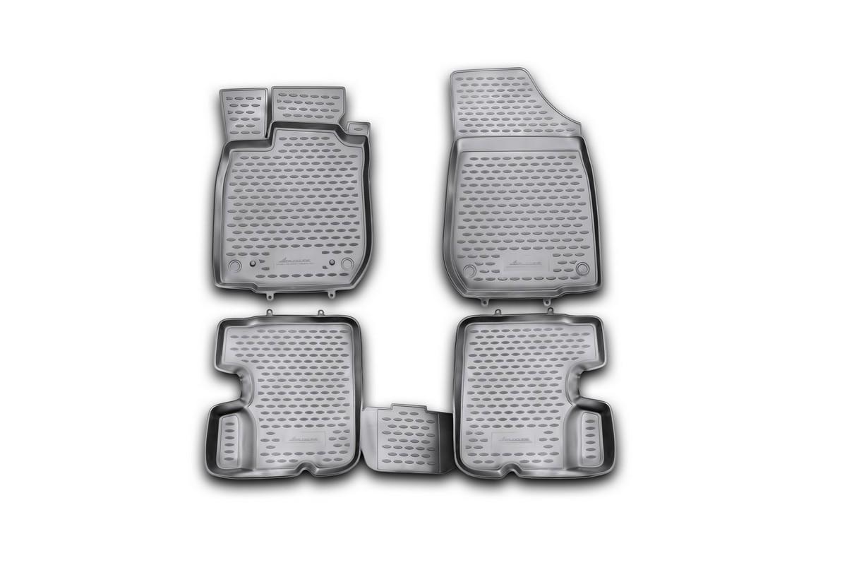 Набор автомобильных ковриков Novline-Autofamily для Renault Sandero 2010-2014, в салон, 4 штVT-1520(SR)Набор автомобильных ковриков Novline-Autofamily, изготовленный из полиуретана, состоит из 4 ковриков, которые учитывают все особенности каждой модели автомобиля и полностью повторяют контуры пола. Полиуретановые автомобильные коврики для салона произведены из высококачественного материала, который держит форму, прочный и не пачкает обувь. Коврики в салон не только улучшат внешний вид салона вашего автомобиля, но и надежно уберегут его от пыли, грязи и сырости, а значит, защитят кузов от коррозии. Полиуретановые коврики для автомобиля гладкие, приятные и не пропускают влагу. Ковры для автомобилей надежно крепятся на полу и не скользят, что очень важно во время движения. Чистятся коврики очень просто: как при помощи автомобильного пылесоса, так и различными моющими средствами. Набор подходит для Renault Sandero 2010-2014 годов выпуска.