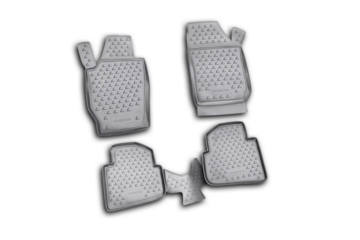 Набор автомобильных ковриков Novline-Autofamily для Skoda Roomster 2006-, в салон, 4 шт. NLC.45.07.210kVT-1520(SR)Набор автомобильных ковриков Novline-Autofamily, изготовленный из полиуретана, состоит из 4 ковриков, которые учитывают все особенности каждой модели автомобиля и полностью повторяют контуры пола. Полиуретановые автомобильные коврики для салона произведены из высококачественного материала, который держит форму, прочный и не пачкает обувь. Коврики в салон не только улучшат внешний вид салона вашего автомобиля, но и надежно уберегут его от пыли, грязи и сырости, а значит, защитят кузов от коррозии. Полиуретановые коврики для автомобиля гладкие, приятные и не пропускают влагу. Ковры для автомобилей надежно крепятся на полу и не скользят, что очень важно во время движения. Чистятся коврики очень просто: как при помощи автомобильного пылесоса, так и различными моющими средствами. Набор подходит для Skoda Roomster с 2006 года выпуска.