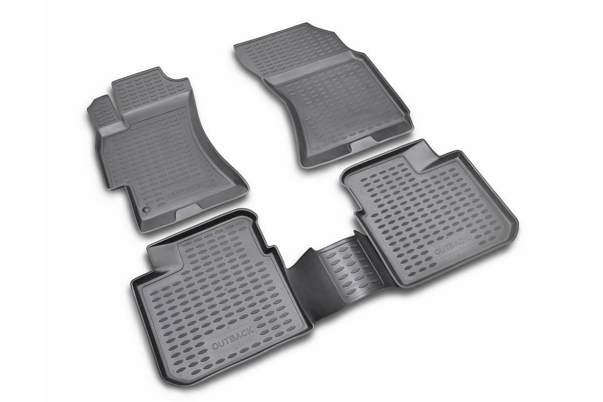 Набор автомобильных ковриков Novline-Autofamily для Subaru Outback 2003-2009, в салон, цвет: черный, оранжевый, 4 штNLC.46.03.210Набор автомобильных ковриков Novline-Autofamily, изготовленный из полиуретана, состоит из 4 ковриков, которые учитывают все особенности каждой модели автомобиля и полностью повторяют контуры пола. Полиуретановые автомобильные коврики для салона произведены из высококачественного материала, который держит форму, прочный и не пачкает обувь. Коврики в салон не только улучшат внешний вид салона вашего автомобиля, но и надежно уберегут его от пыли, грязи и сырости, а значит, защитят кузов от коррозии. Полиуретановые коврики для автомобиля гладкие, приятные и не пропускают влагу. Ковры для автомобилей надежно крепятся на полу и не скользят, что очень важно во время движения. Чистятся коврики очень просто: как при помощи автомобильного пылесоса, так и различными моющими средствами. Набор подходит для Subaru Outback 2003-2009 годов выпуска.