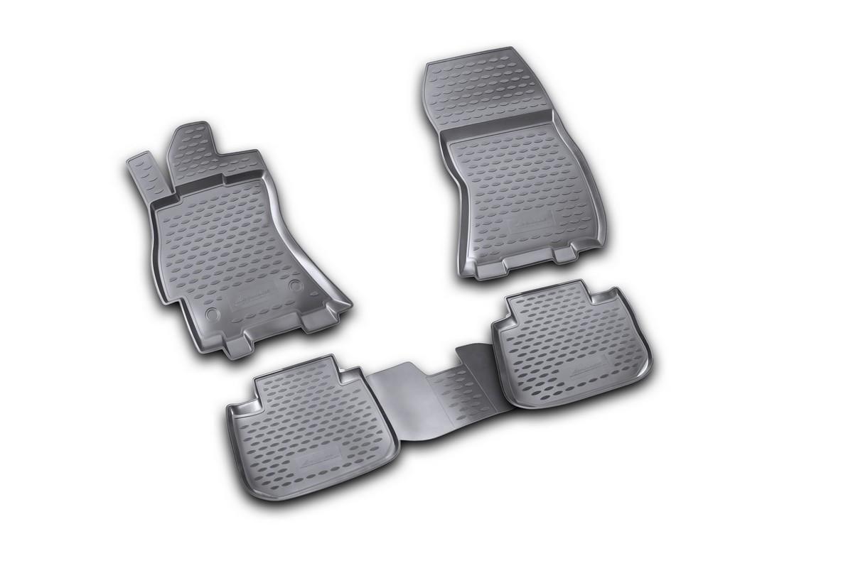Набор автомобильных ковриков Novline-Autofamily для Subaru Legacy 01/2010-, в салон, 4 шт. NLC.46.09.210kNLC.46.09.210kНабор автомобильных ковриков Novline-Autofamily, изготовленный из полиуретана, состоит из 4 ковриков, которые учитывают все особенности каждой модели автомобиля и полностью повторяют контуры пола. Полиуретановые автомобильные коврики для салона произведены из высококачественного материала, который держит форму, прочный и не пачкает обувь. Коврики в салон не только улучшат внешний вид салона вашего автомобиля, но и надежно уберегут его от пыли, грязи и сырости, а значит, защитят кузов от коррозии. Полиуретановые коврики для автомобиля гладкие, приятные и не пропускают влагу. Ковры для автомобилей надежно крепятся на полу и не скользят, что очень важно во время движения. Чистятся коврики очень просто: как при помощи автомобильного пылесоса, так и различными моющими средствами. Набор подходит для Subaru Legacy с января 2010 года выпуска.