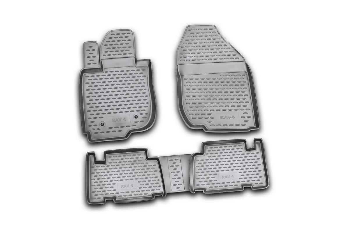 Набор автомобильных ковриков Novline-Autofamily для Toyota RAV4 01/2006-2010, в салон, 4 штVT-1520(SR)Набор автомобильных ковриков Novline-Autofamily, изготовленный из полиуретана, состоит из 4 ковриков, которые учитывают все особенности каждой модели автомобиля и полностью повторяют контуры пола. Полиуретановые автомобильные коврики для салона произведены из высококачественного материала, который держит форму, прочный и не пачкает обувь. Коврики в салон не только улучшат внешний вид салона вашего автомобиля, но и надежно уберегут его от пыли, грязи и сырости, а значит, защитят кузов от коррозии. Полиуретановые коврики для автомобиля гладкие, приятные и не пропускают влагу. Ковры для автомобилей надежно крепятся на полу и не скользят, что очень важно во время движения. Чистятся коврики очень просто: как при помощи автомобильного пылесоса, так и различными моющими средствами. Набор подходит для Toyota RAV4 январь 2006 - 2010 годов выпуска.