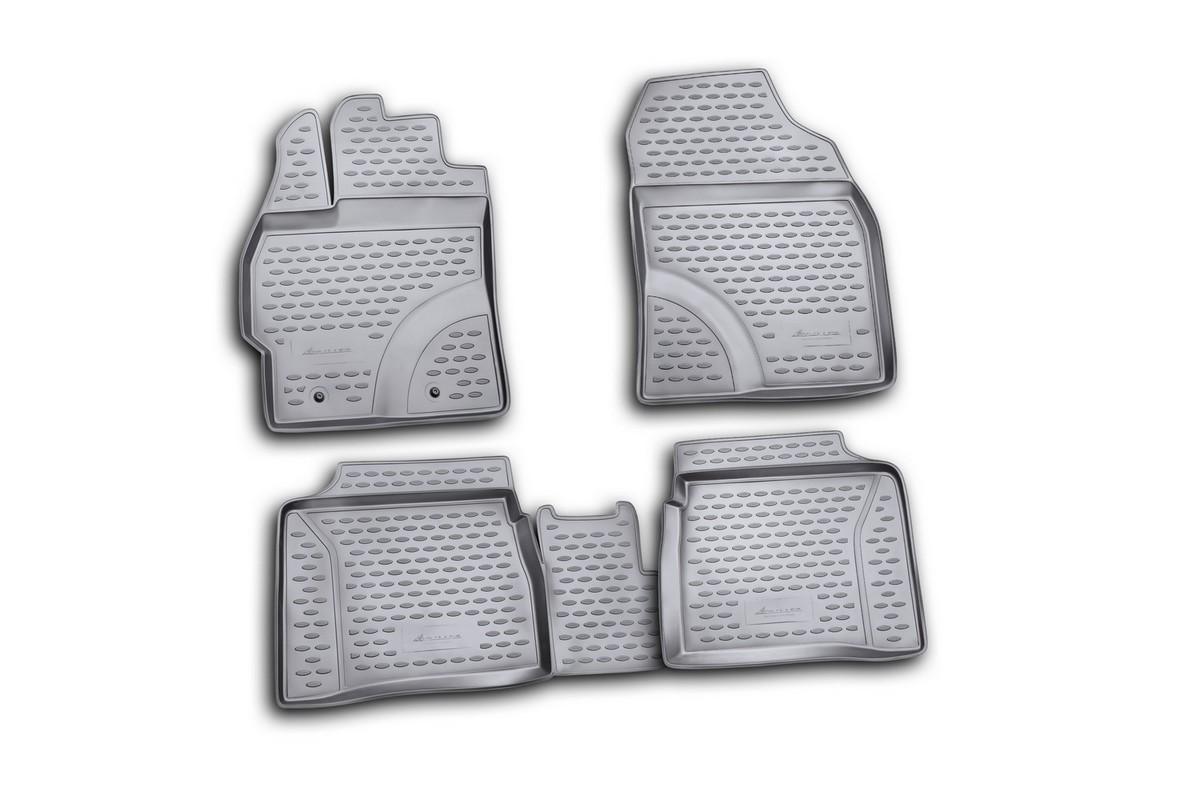 Набор автомобильных ковриков Novline-Autofamily для Toyota Prius 10/2009-, в салон, 4 штNLC.48.22.210Набор автомобильных ковриков Novline-Autofamily, изготовленный из полиуретана, состоит из 4 ковриков, которые учитывают все особенности каждой модели автомобиля и полностью повторяют контуры пола. Полиуретановые автомобильные коврики для салона произведены из высококачественного материала, который держит форму, прочный и не пачкает обувь. Коврики в салон не только улучшат внешний вид салона вашего автомобиля, но и надежно уберегут его от пыли, грязи и сырости, а значит, защитят кузов от коррозии. Полиуретановые коврики для автомобиля гладкие, приятные и не пропускают влагу. Ковры для автомобилей надежно крепятся на полу и не скользят, что очень важно во время движения. Чистятся коврики очень просто: как при помощи автомобильного пылесоса, так и различными моющими средствами. Набор подходит для Toyota Prius с октября 2009 года выпуска.