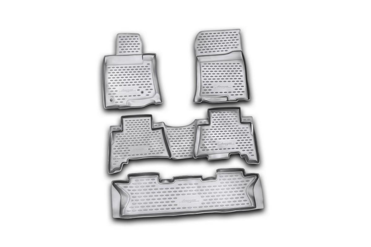 Набор автомобильных ковриков Novline-Autofamily для Toyota Land Cruiser Prado 12/2009-2013, 7 мест, в салон, 5 штNLC.48.27.210Набор автомобильных ковриков Novline-Autofamily, изготовленный из полиуретана, состоит из 5 ковриков, которые учитывают все особенности каждой модели автомобиля и полностью повторяют контуры пола. Полиуретановые автомобильные коврики для салона произведены из высококачественного материала, который держит форму, прочный и не пачкает обувь. Коврики в салон не только улучшат внешний вид салона вашего автомобиля, но и надежно уберегут его от пыли, грязи и сырости, а значит, защитят кузов от коррозии. Полиуретановые коврики для автомобиля гладкие, приятные и не пропускают влагу. Ковры для автомобилей надежно крепятся на полу и не скользят, что очень важно во время движения. Чистятся коврики очень просто: как при помощи автомобильного пылесоса, так и различными моющими средствами. Набор подходит для Toyota Land Cruiser Prado 7 мест декабрь 2009 - 2013 годов выпуска.