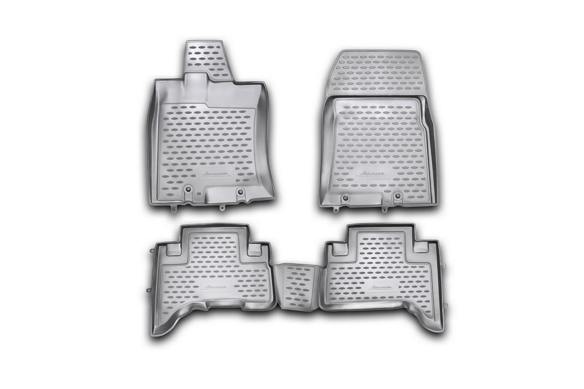 Набор автомобильных ковриков Novline-Autofamily для Toyota FJ- Cruiser 2006-, в салон, 4 штNLC.48.43.210khНабор автомобильных ковриков Novline-Autofamily, изготовленный из полиуретана, состоит из 4 ковриков, которые учитывают все особенности каждой модели автомобиля и полностью повторяют контуры пола. Полиуретановые автомобильные коврики для салона произведены из высококачественного материала, который держит форму, прочный и не пачкает обувь. Коврики в салон не только улучшат внешний вид салона вашего автомобиля, но и надежно уберегут его от пыли, грязи и сырости, а значит, защитят кузов от коррозии. Полиуретановые коврики для автомобиля гладкие, приятные и не пропускают влагу. Ковры для автомобилей надежно крепятся на полу и не скользят, что очень важно во время движения. Чистятся коврики очень просто: как при помощи автомобильного пылесоса, так и различными моющими средствами. Набор подходит для Toyota FJ- Cruiser с 2006 года выпуска.