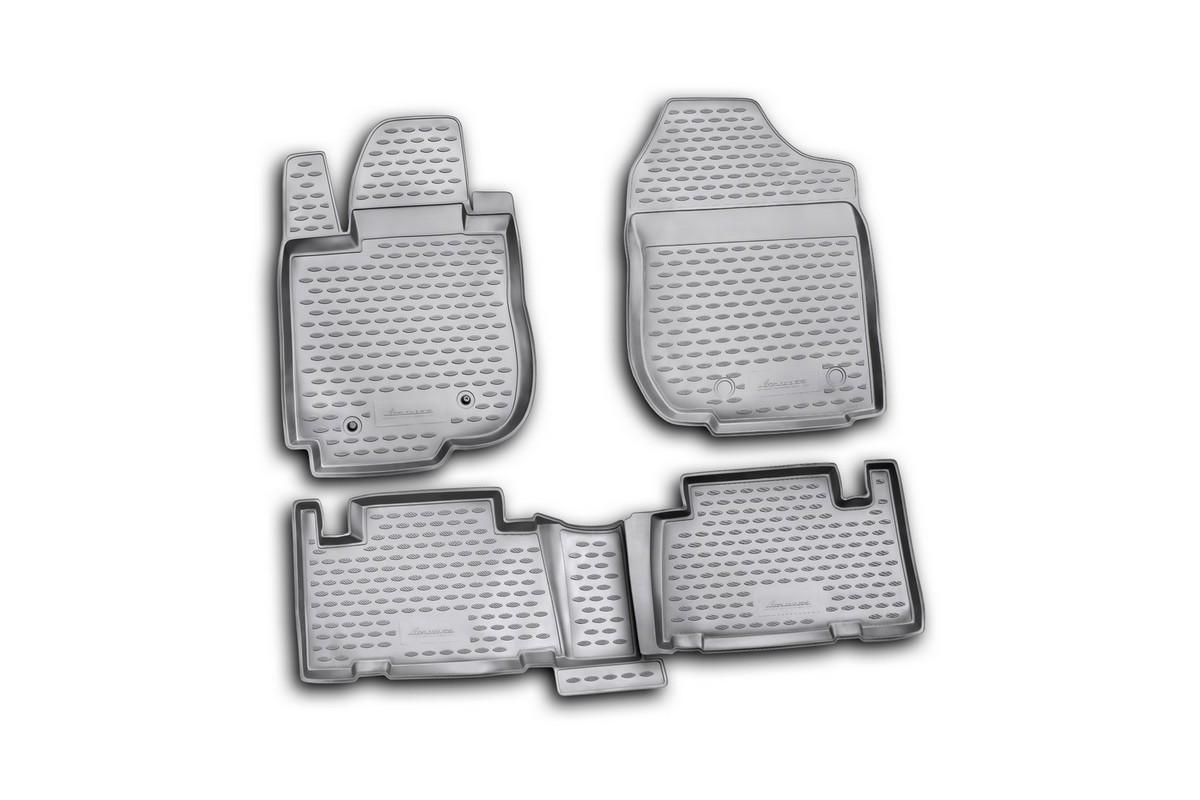 Коврики в салон автомобиля Novline-Autofamily для Toyota RAV4, 2010 -, 4 штVT-1520(SR)Коврики Novline-Autofamily улучшат внешний вид салона автомобиля и надежно уберегут его от пыли, грязи и сырости, а значит, защитят кузов от коррозии. Полиуретановые коврики гладкие, приятные и не пропускает влагу. Полиуретановые автомобильные коврики произведены из высококачественного материала, который держит форму и не пачкает обувь. Коврики надежно крепятся на полу и не скользят, что очень важно во время движения, особенно для водителя. Изделия из полиуретана надежно удерживают грязь и влагу, при этом всегда выглядят довольно опрятно. И чистятся они очень просто: как при помощи автомобильного пылесоса, так и различными моющими средствами.