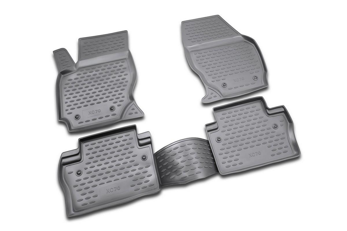 Набор автомобильных ковриков Novline-Autofamily для Volvo XC70 2007-, в салон, 4 штDFS-524Набор автомобильных ковриков Novline-Autofamily, изготовленный из полиуретана, состоит из 4 ковриков, которые учитывают все особенности каждой модели автомобиля и полностью повторяют контуры пола. Полиуретановые автомобильные коврики для салона произведены из высококачественного материала, который держит форму, прочный и не пачкает обувь. Коврики в салон не только улучшат внешний вид салона вашего автомобиля, но и надежно уберегут его от пыли, грязи и сырости, а значит, защитят кузов от коррозии. Полиуретановые коврики для автомобиля гладкие, приятные и не пропускают влагу. Ковры для автомобилей надежно крепятся на полу и не скользят, что очень важно во время движения. Чистятся коврики очень просто: как при помощи автомобильного пылесоса, так и различными моющими средствами. Набор подходит для Volvo XC70 с 2007 года выпуска.